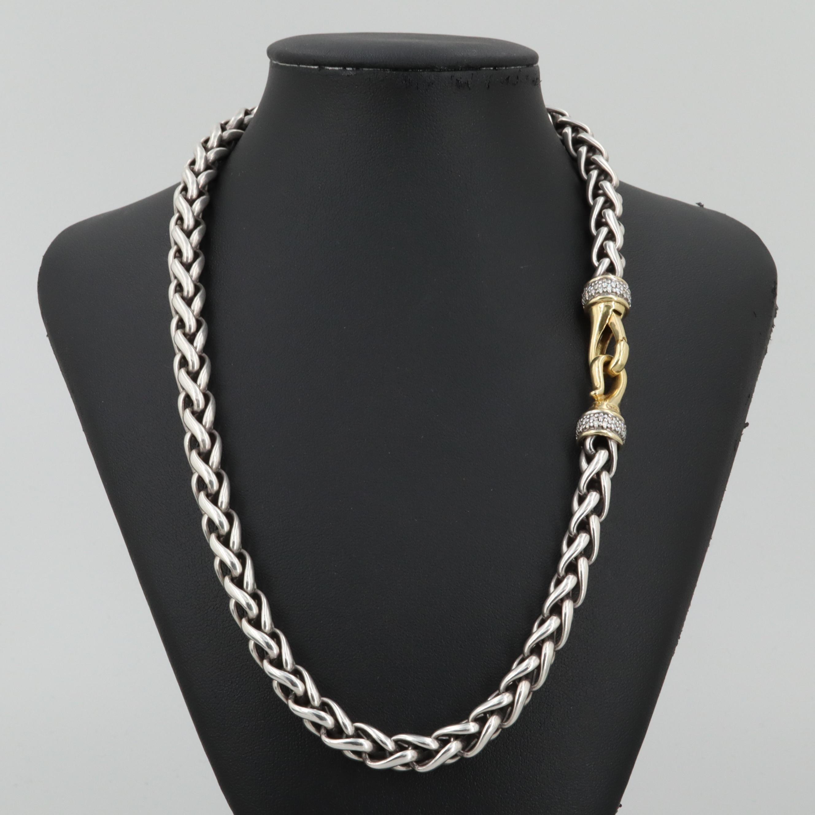 David Yurman Sterling and 18K Yellow Gold Diamonds Necklace