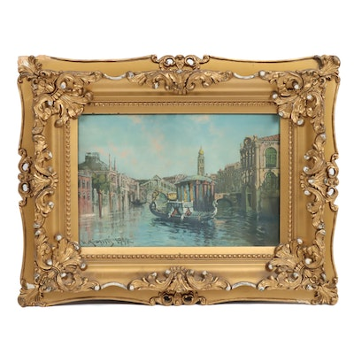 Mid 20th Century Venetian Canal Oil Painting