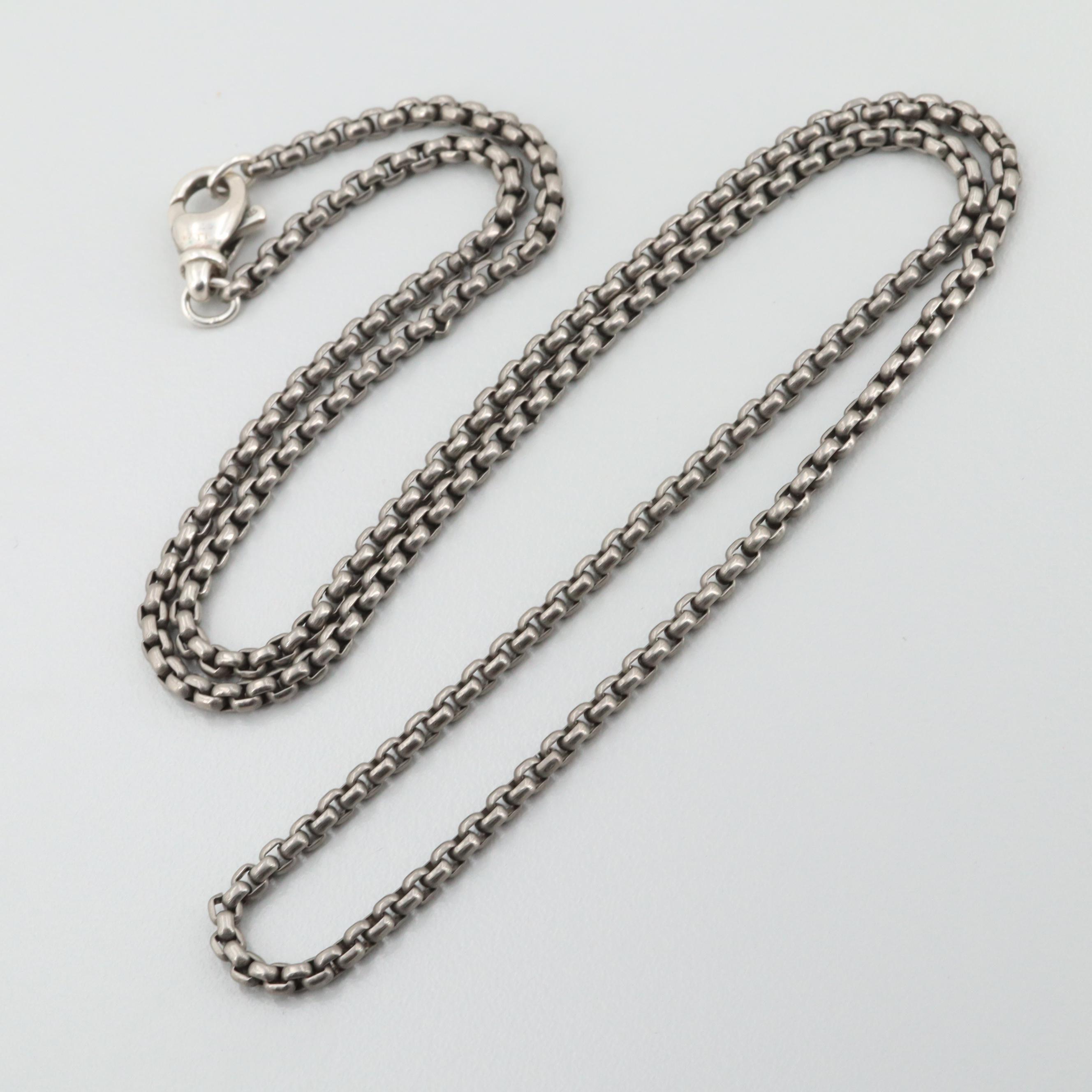David Yurman Titanium Box Chain Necklace