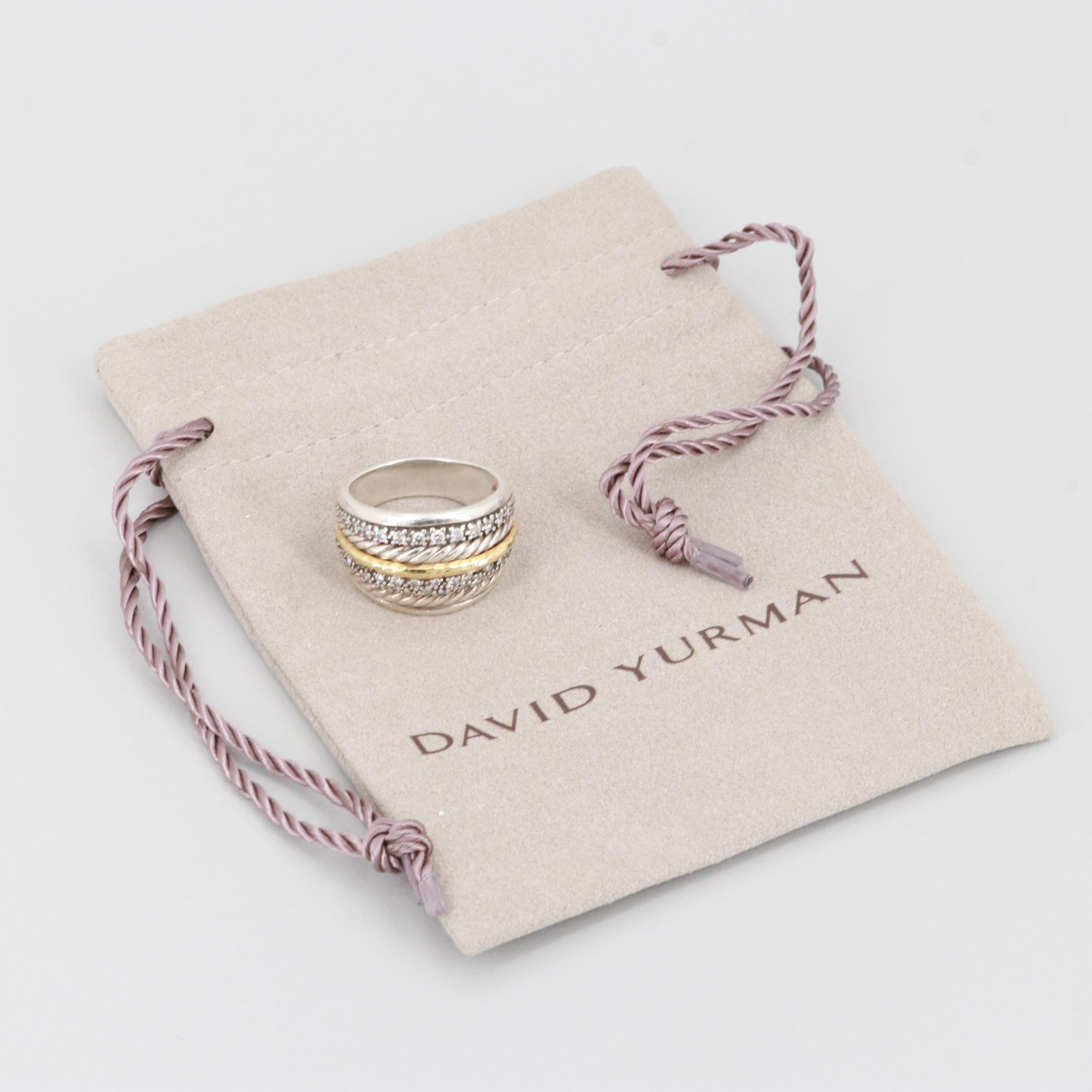 David Yurman Albion Sterling Silver Diamond Ring with 18K Accent