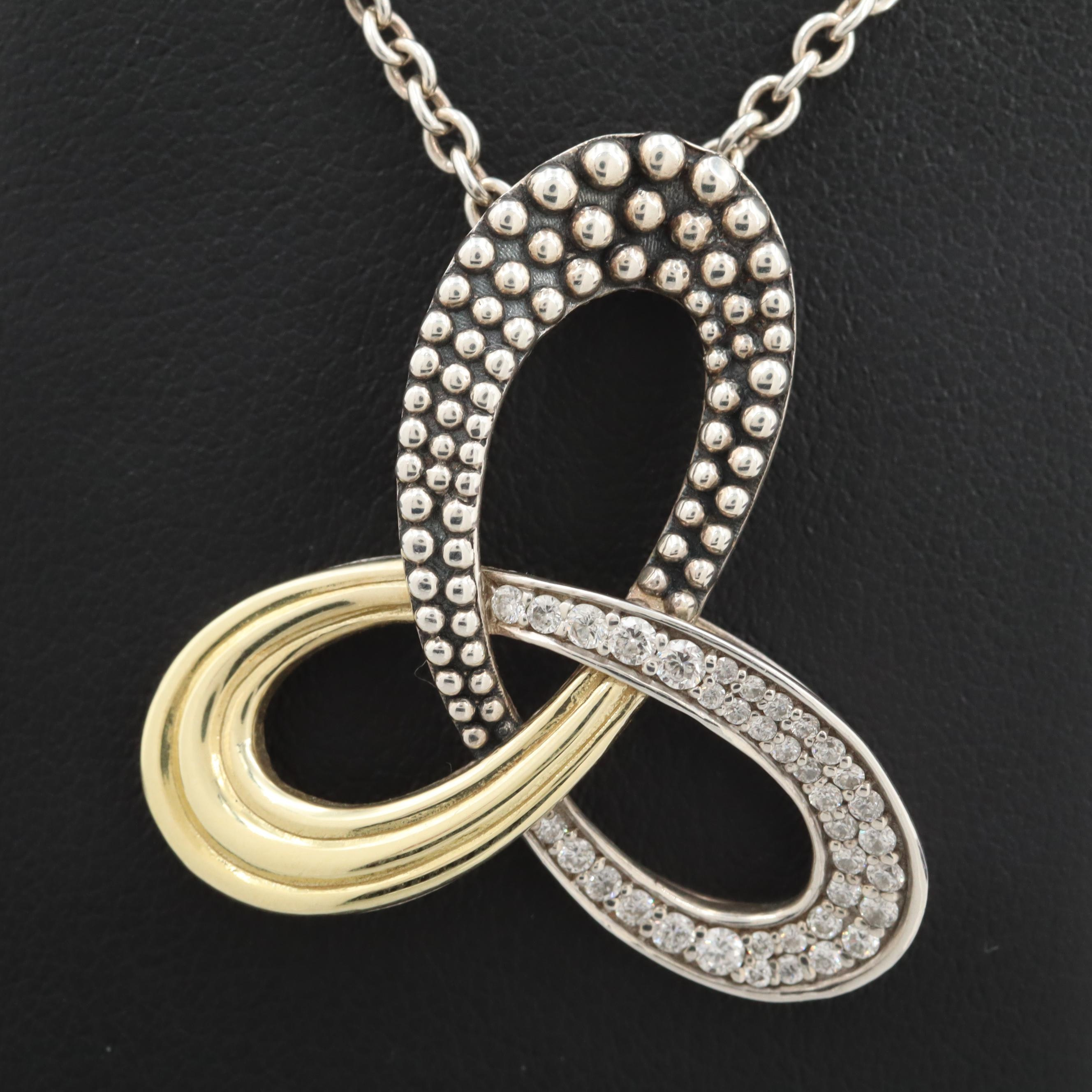 Lagos Sterling Silver Diamond Knot Pendant Necklace with 18K Accents