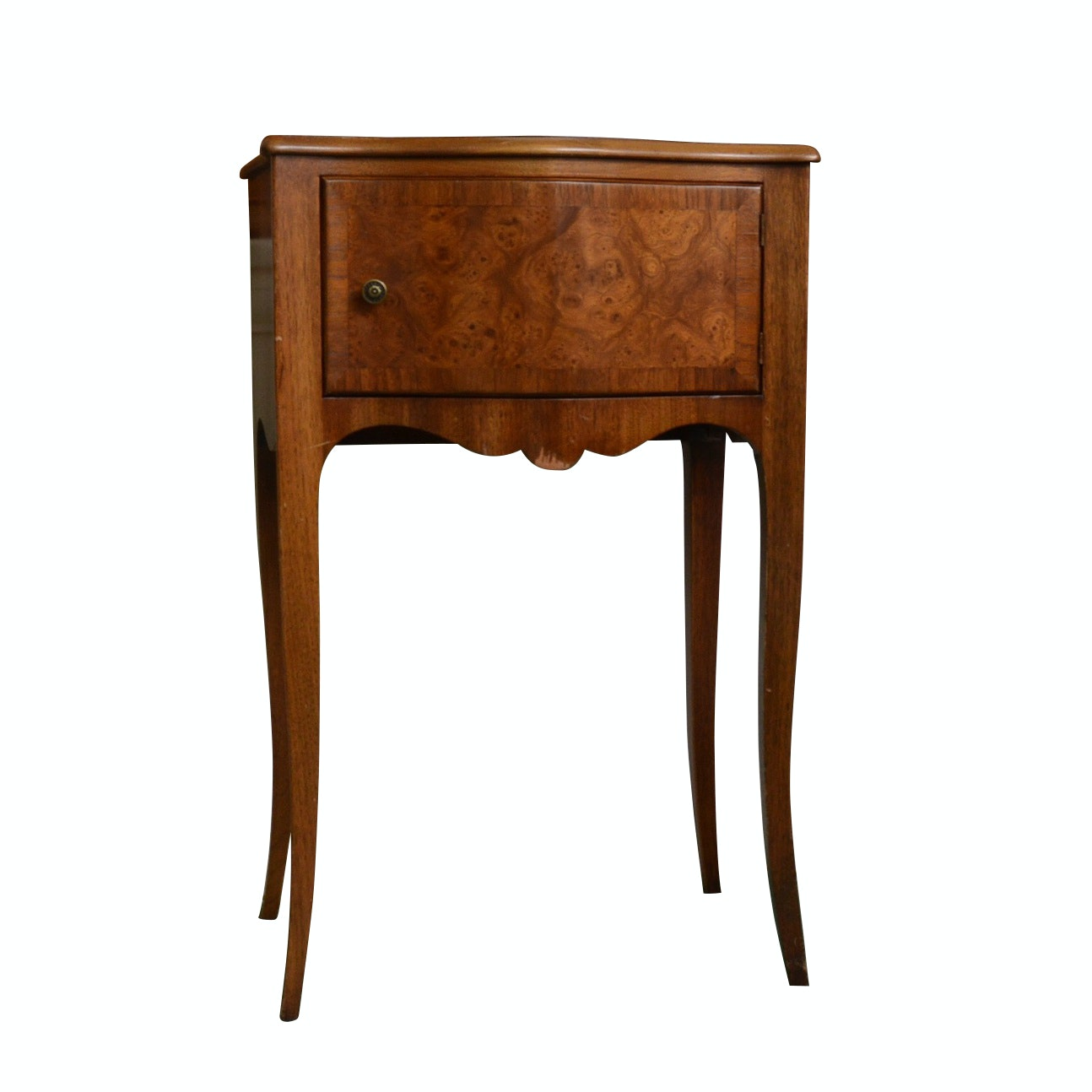 John Widdicomb Louis XV Style Burl Wood and Walnut Bedside Table