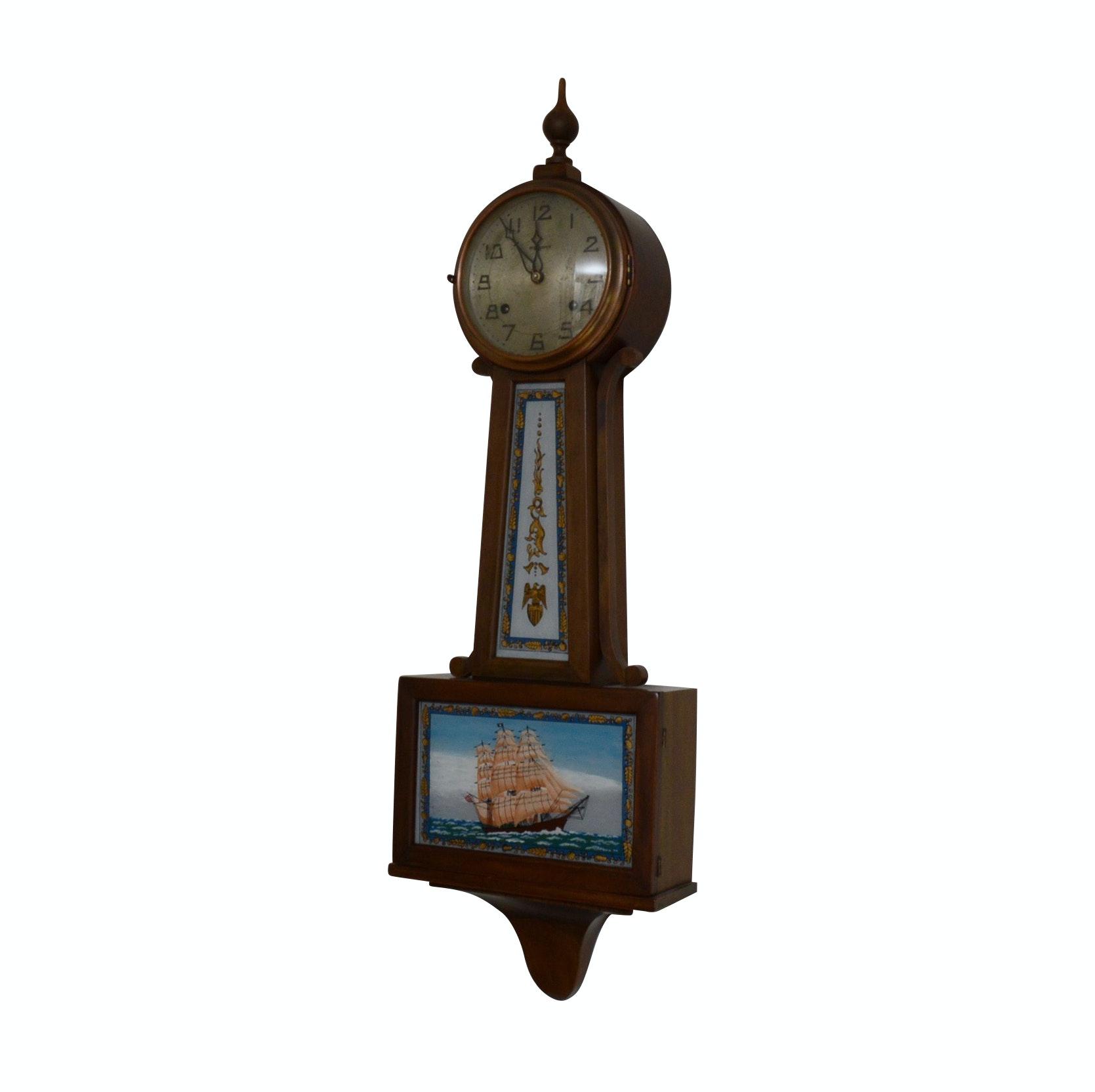 New Haven Reverse Painted Sailing Ship Banjo Clock