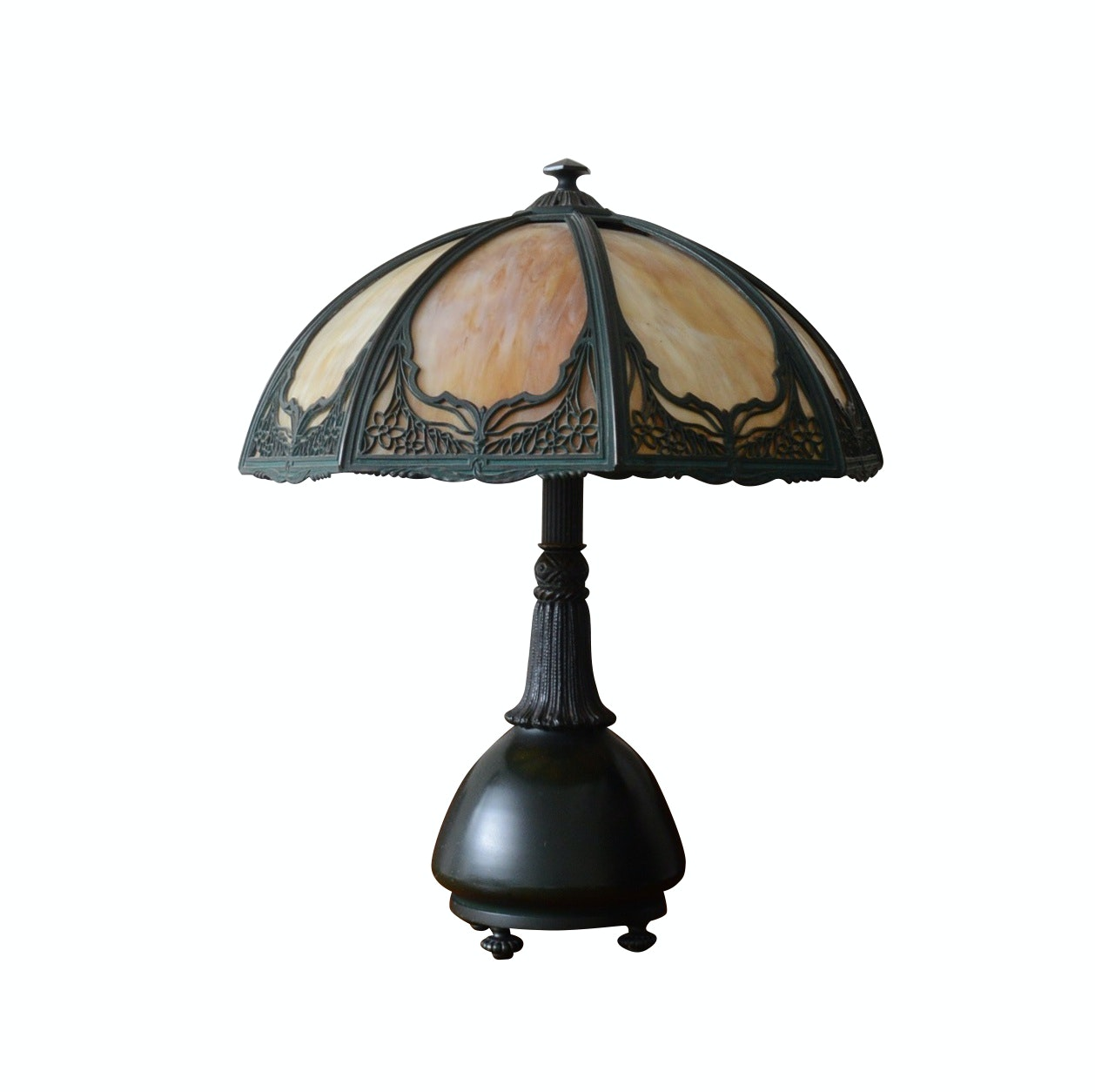 Cast Iron Table Lamp with Overlay Slag Glass Shade Attributed to Iron Works