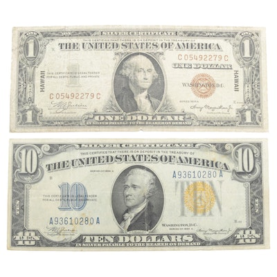 "1934-A $10 and 1935-A $1 ""Hawaii"" Silver Certificates"