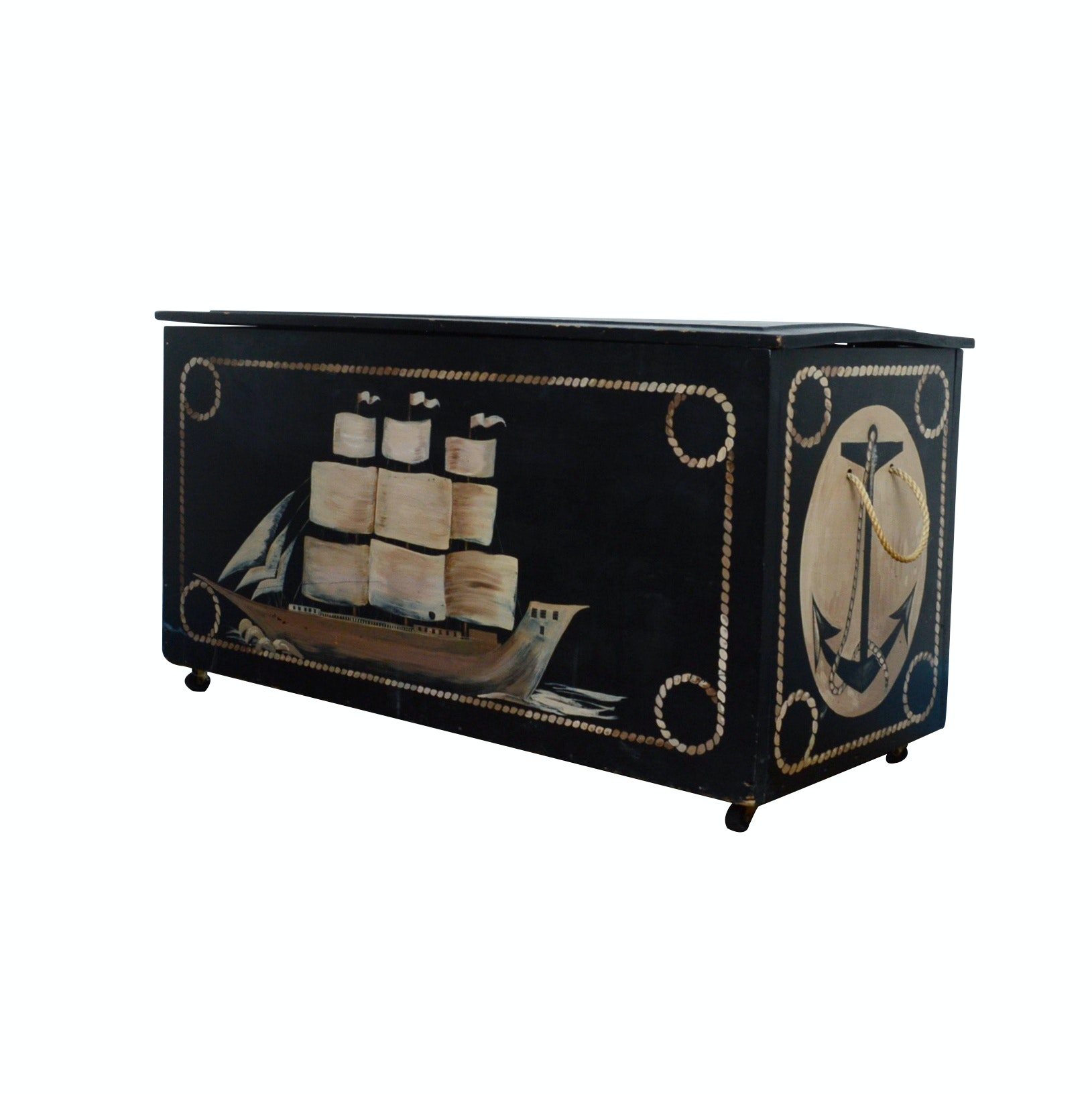 Wooden Nautical Blanket Chest