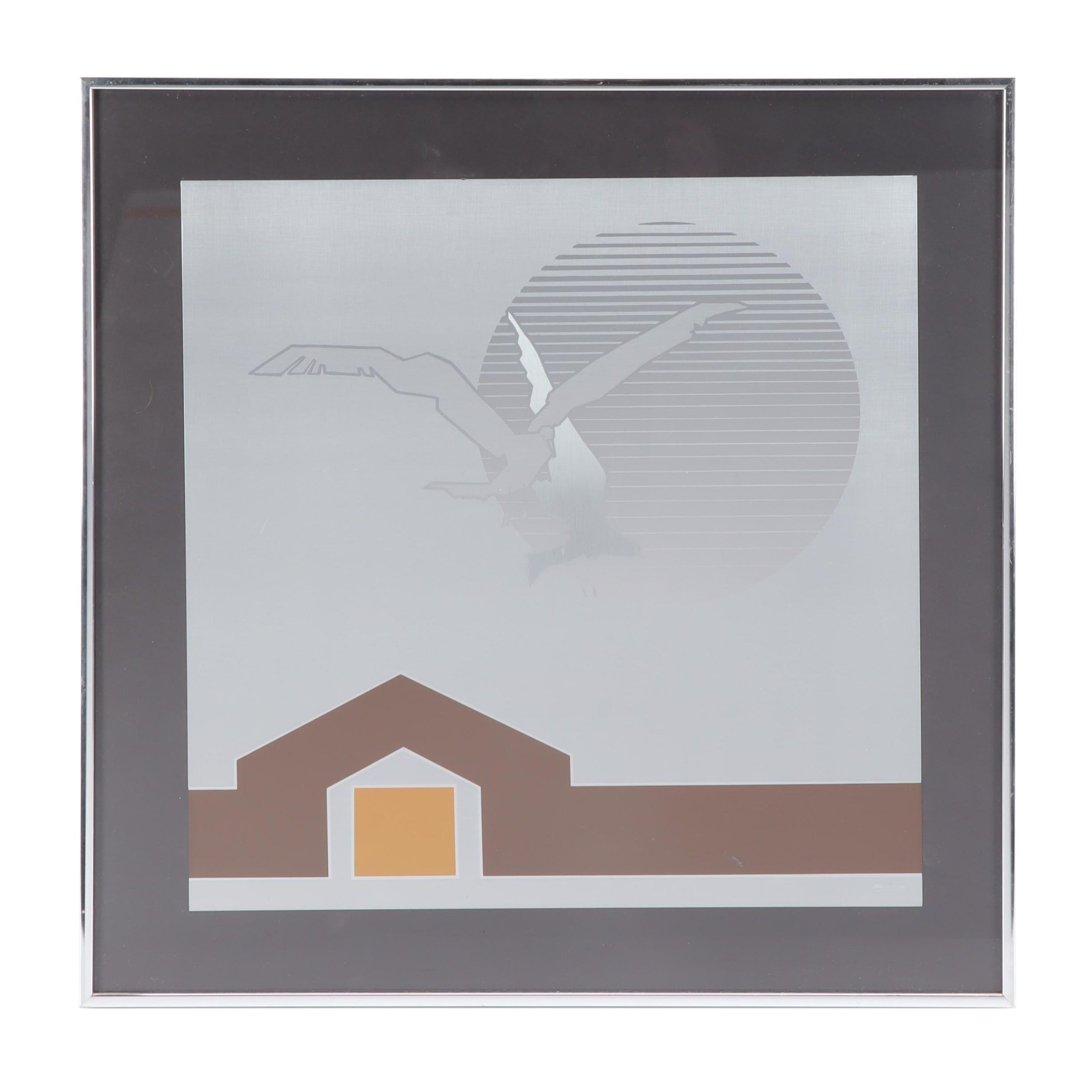 Framed Etched Metal Wall-hanging of Birds and House
