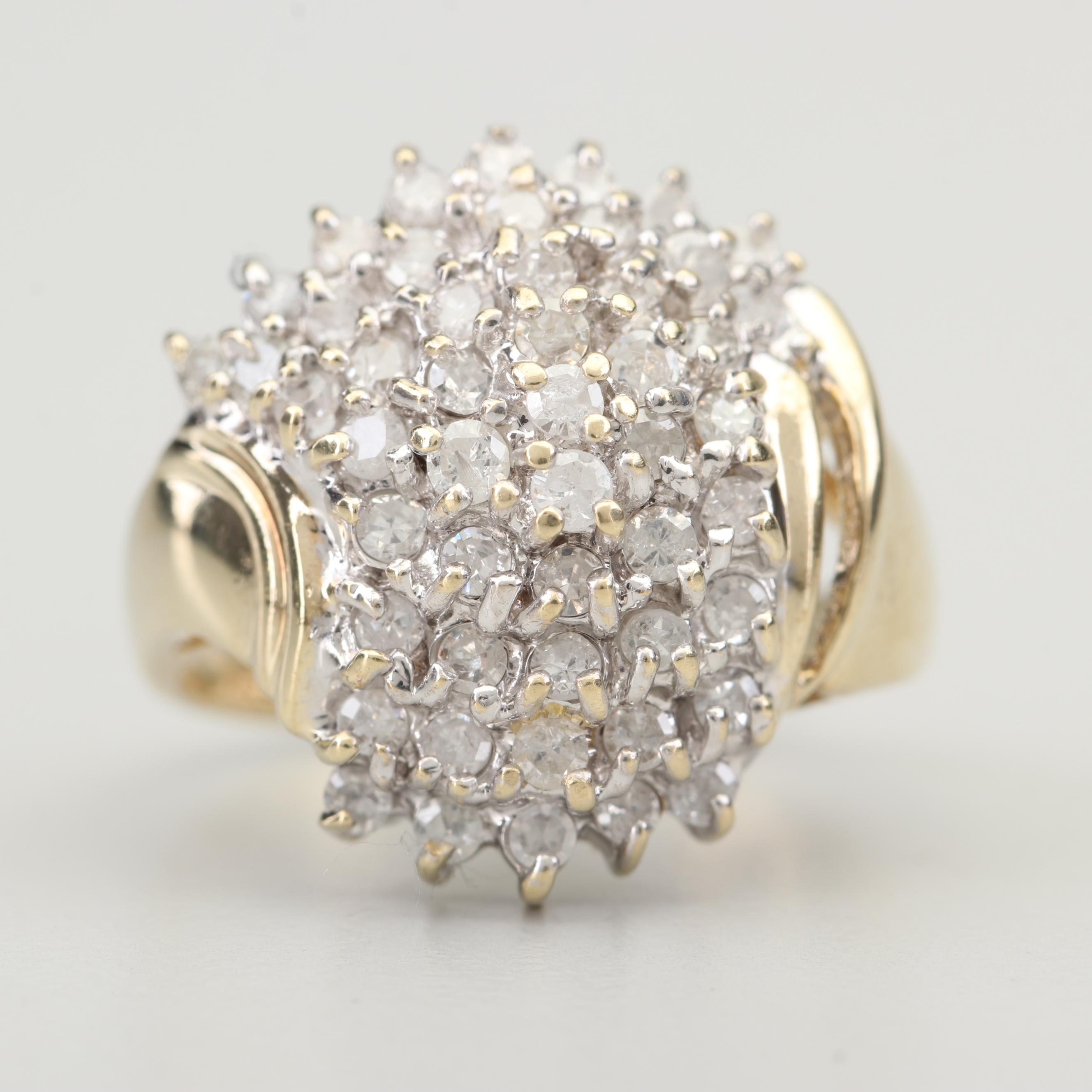 10K Yellow Gold 1.00 CTW Diamond Cluster Ring