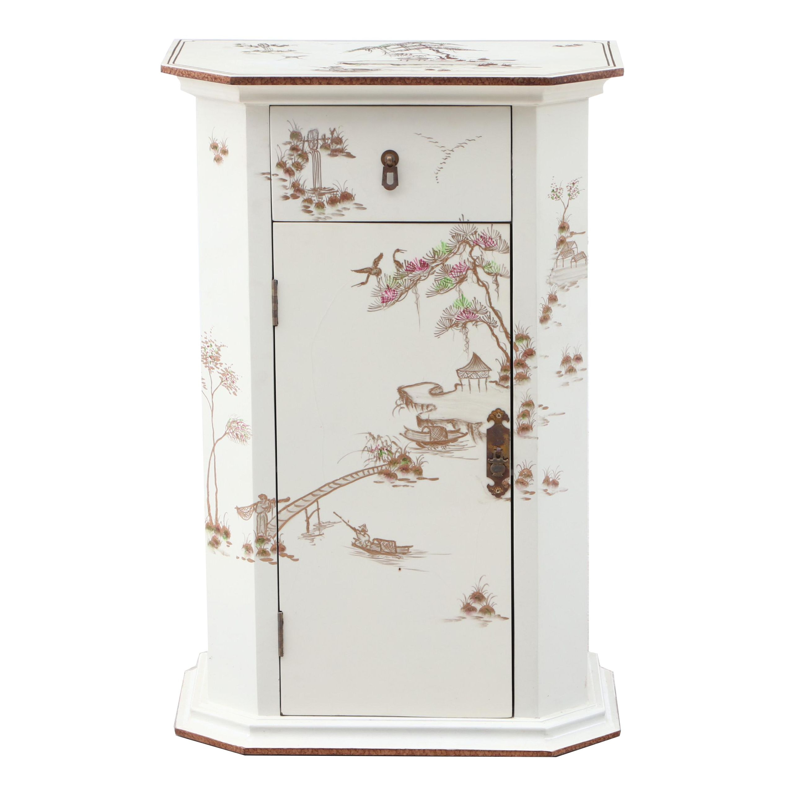 Chinese White Finish Cabinet, Contemporary