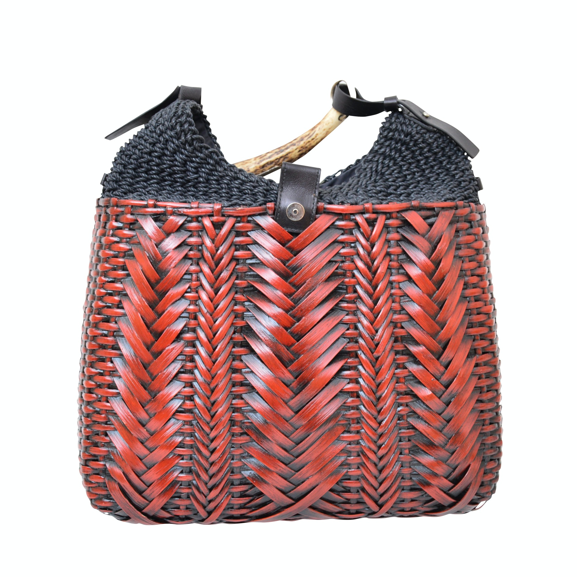 Yves Saint Laurent Woven Rattan and Fabric Handbag with Horn Handle