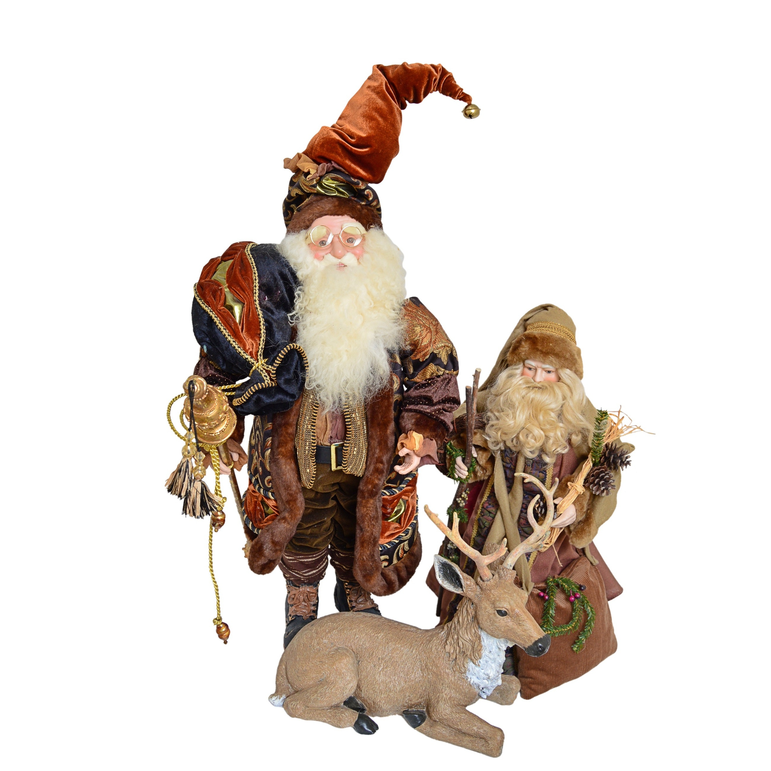 Pair of Father Christmas Dolls and Composite Reindeer