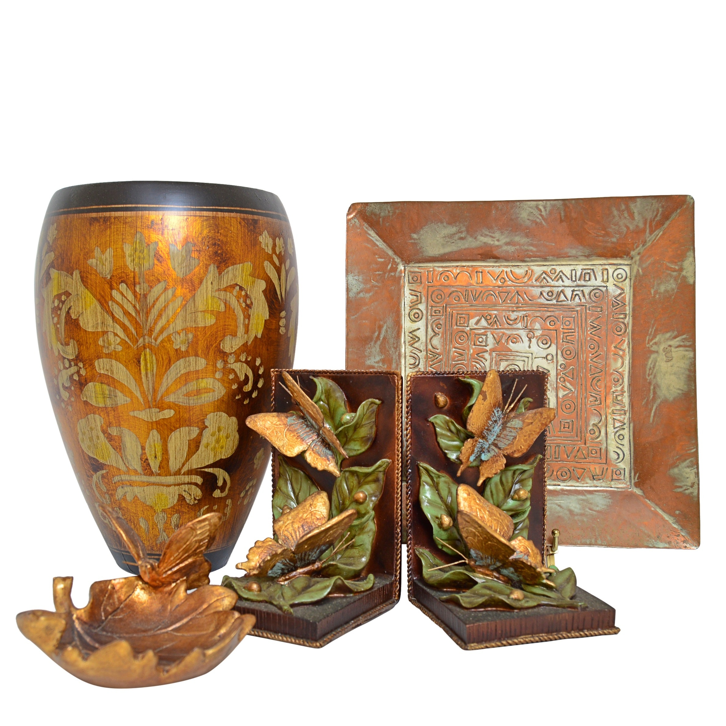 "Copper and Ceramic Decor with The Silky Way"" Bookends and Vase, Israeli Tray"