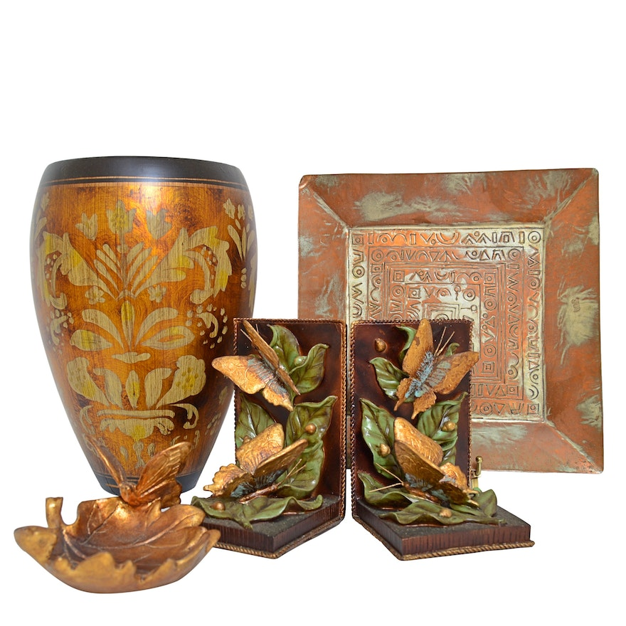 """Copper and Ceramic Decor with The Silky Way"""" Bookends and Vase, Israeli Tray"""