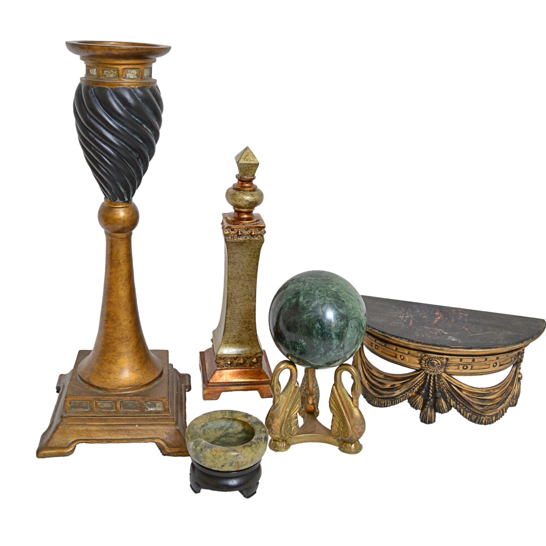 Neoclassic Style Figurines with Marble Ball on Brass Swan Stand, Obelisk, Shelf