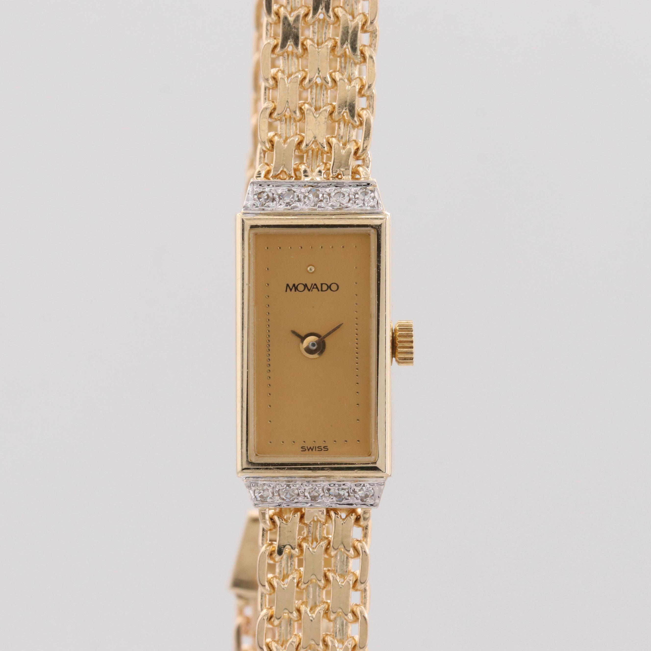 Movado 14K Yellow Gold Wristwatch With a Diamond Bezel