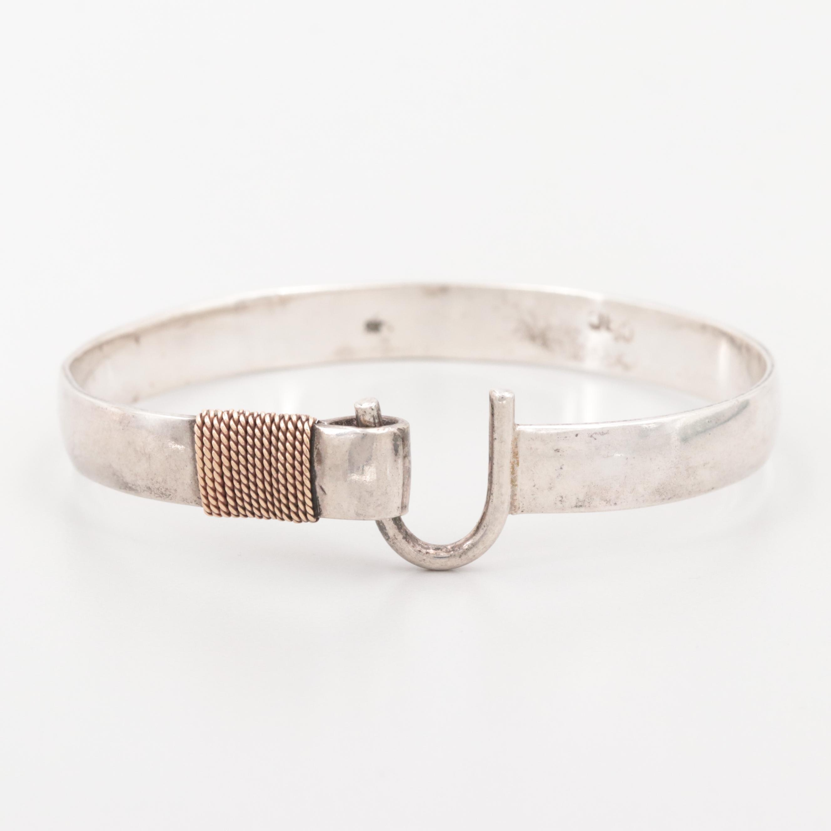Sterling Silver Bracelet with 14K Rose Gold Accents