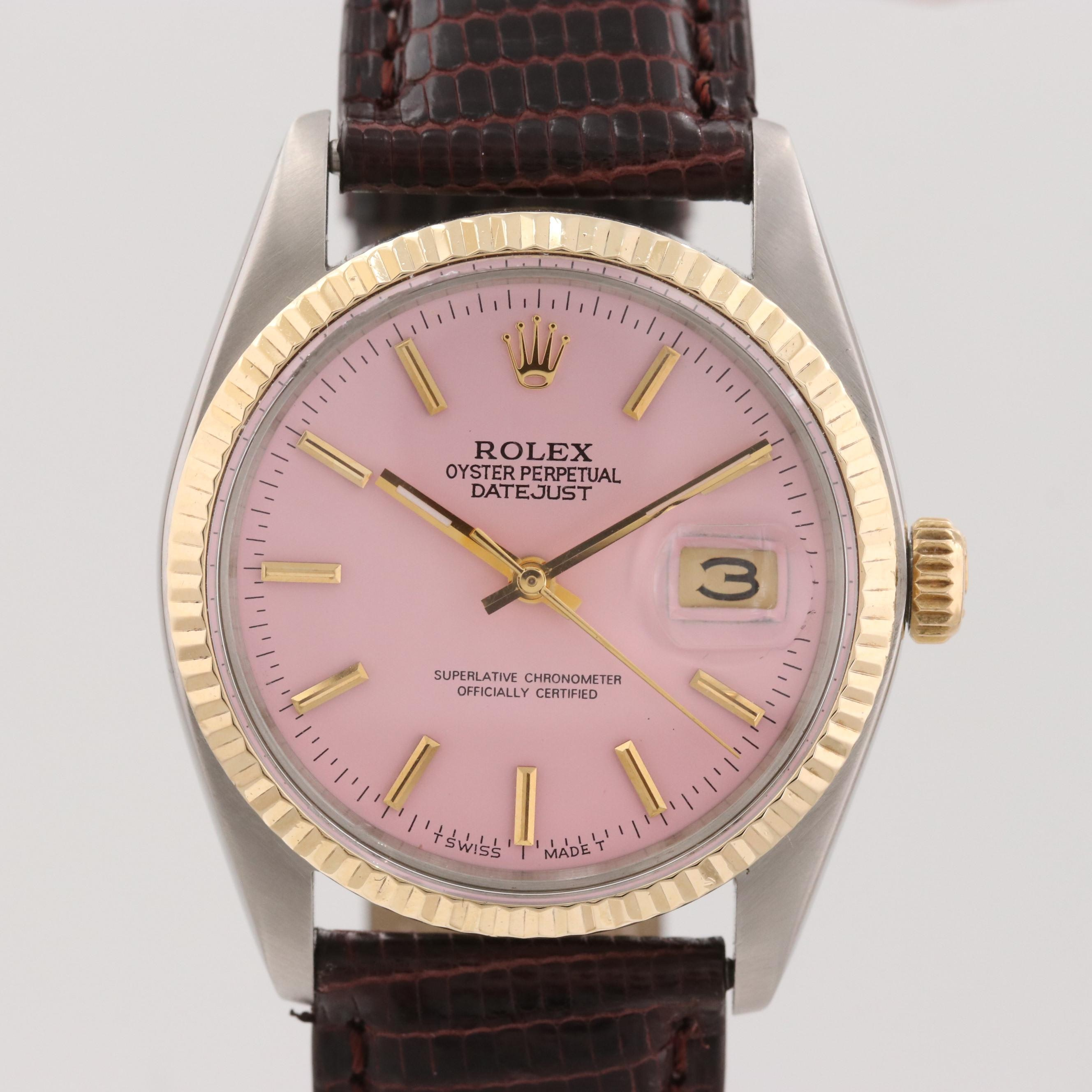 Vintage Rolex Datejust Two Tone Stainless Steel and 18K Gold Wristwatch, 1979