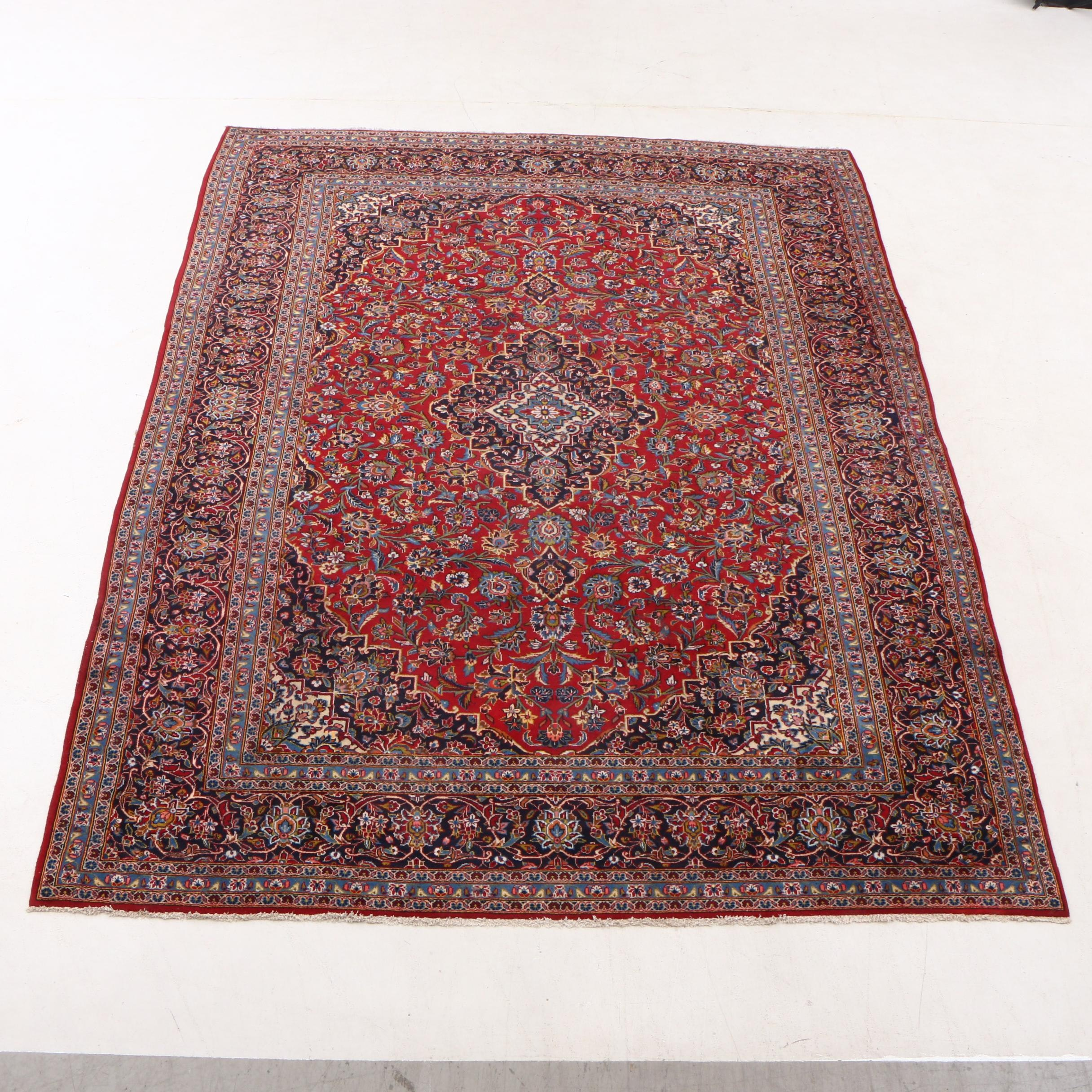 Hand-Knotted Persian Ardekan Kashan Wool Room Sized Rug