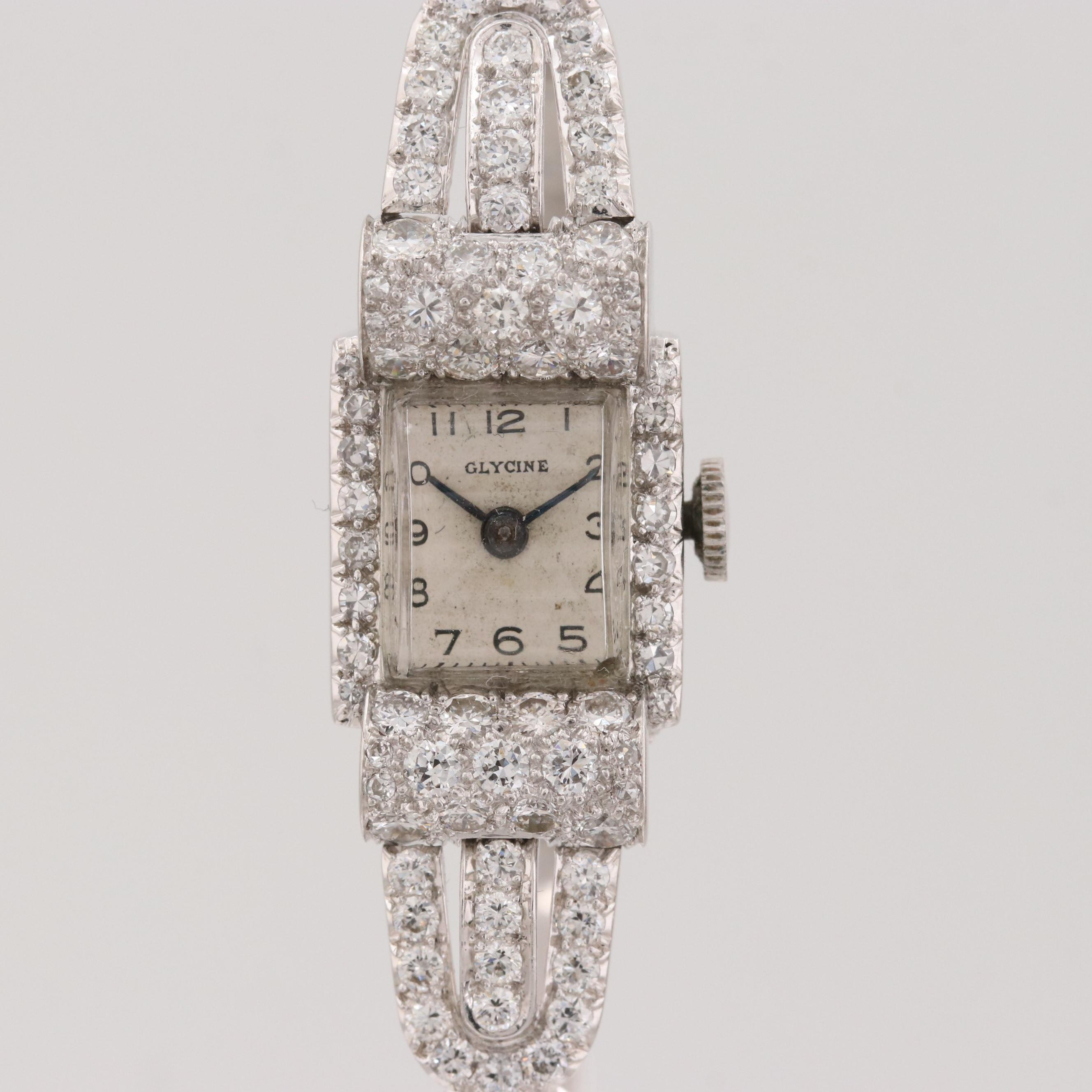 Glycine 2.54 CTW Diamond,14K White Gold and Platinum Wristwatch