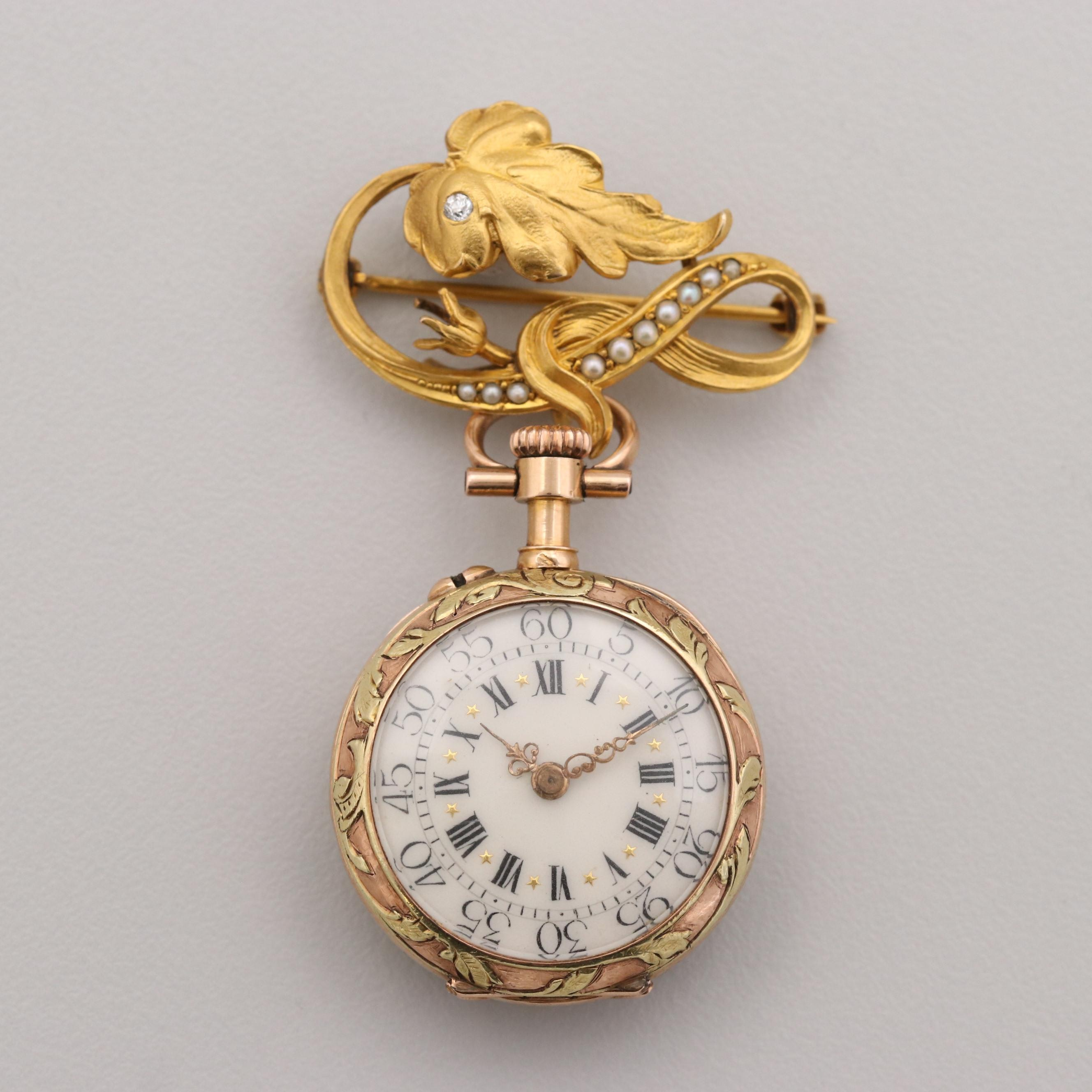 18K Gold Open Face Pocket Watch On Diamond and Pearl Brooch, Circa 1838 -1847