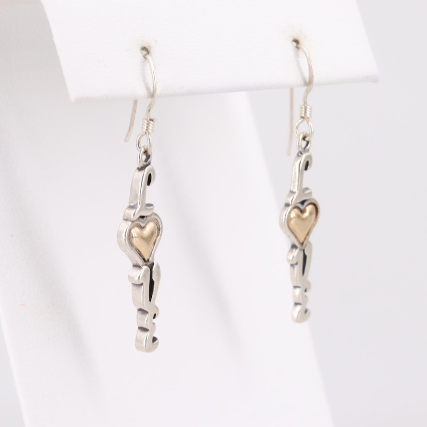 "Sterling Silver ""Love"" Dangle Earrings with 14K Yellow Gold Accents"