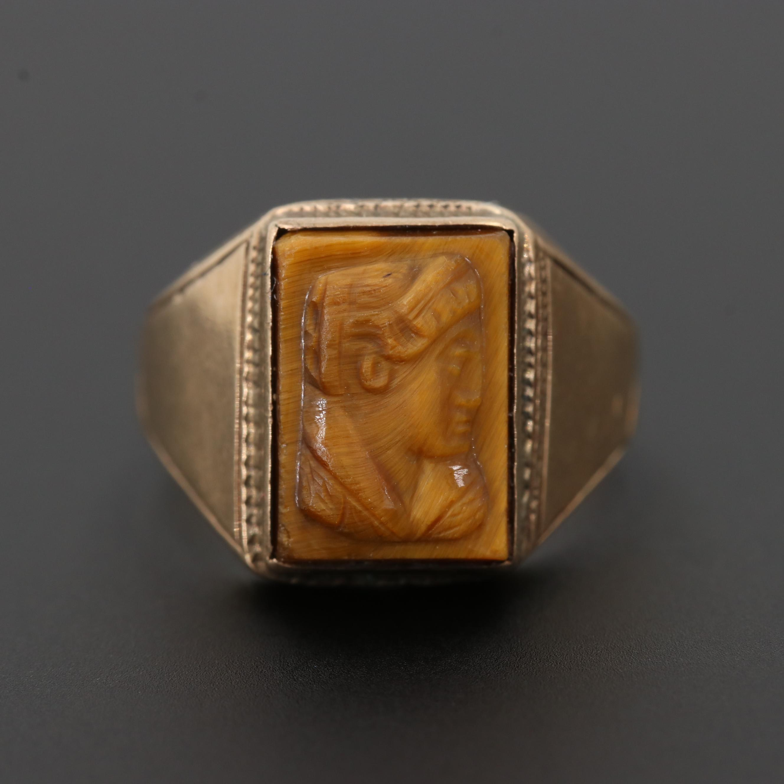 Vintage 10K Yellow Gold Tiger's Eye Carved Cameo Ring