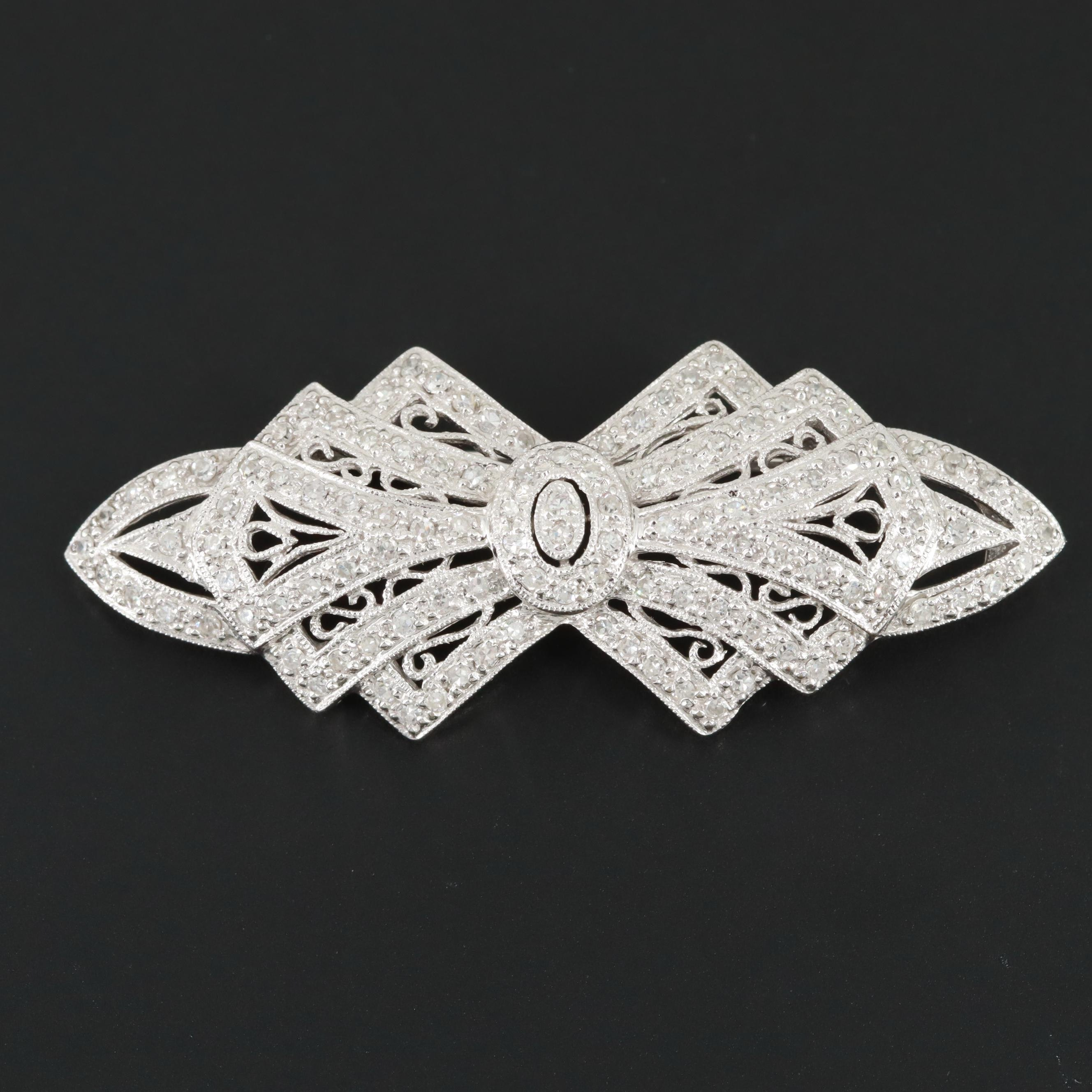 Art Deco Style 14K White Gold Diamond Brooch