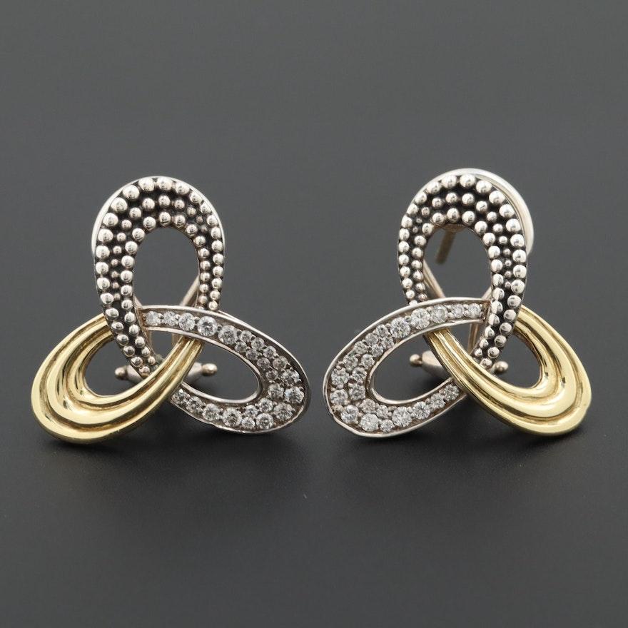 Lagos Sterling Silver Diamond  Earrings with 18K Yellow Gold Accents
