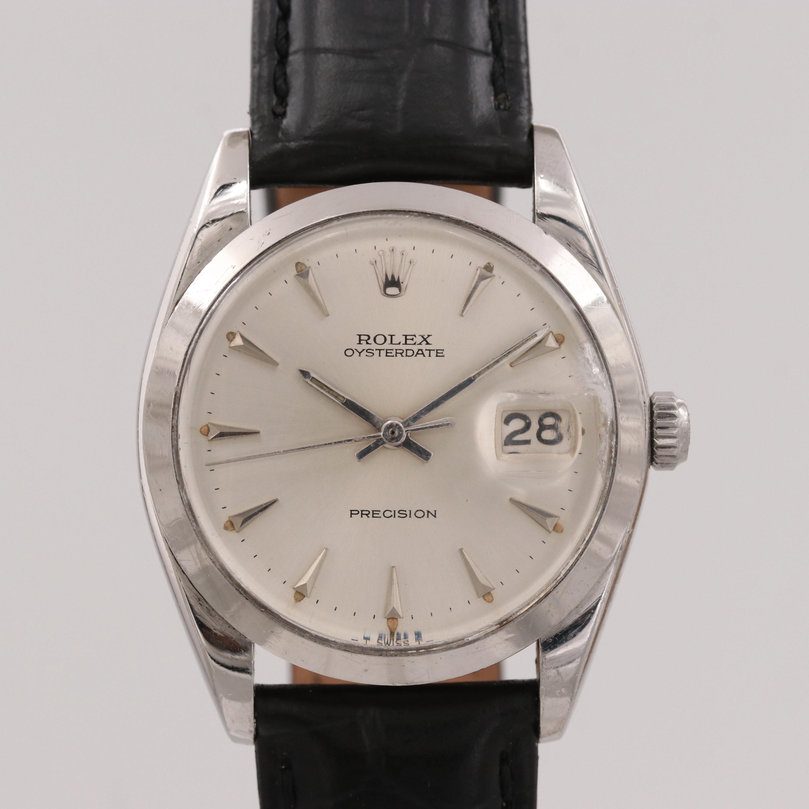Vintage Rolex Oysterdate Stainless Steel Stem Wind Wristwatch, 1965