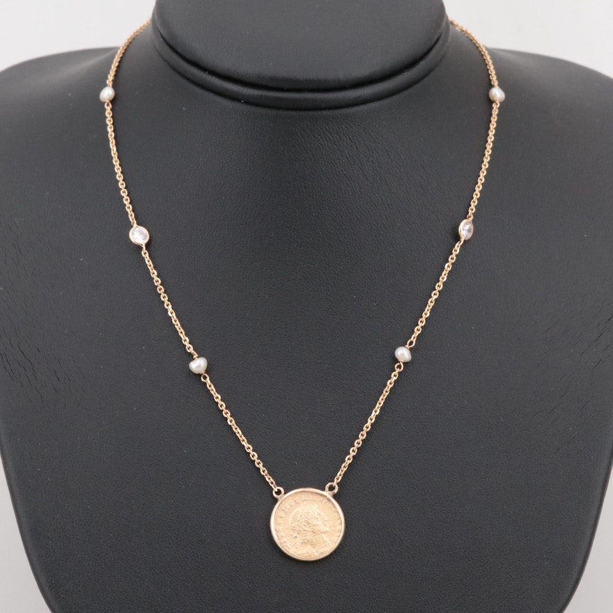 14K Gold Cultured Pearl Station Necklace with Reproduction Ancient Roman Coin
