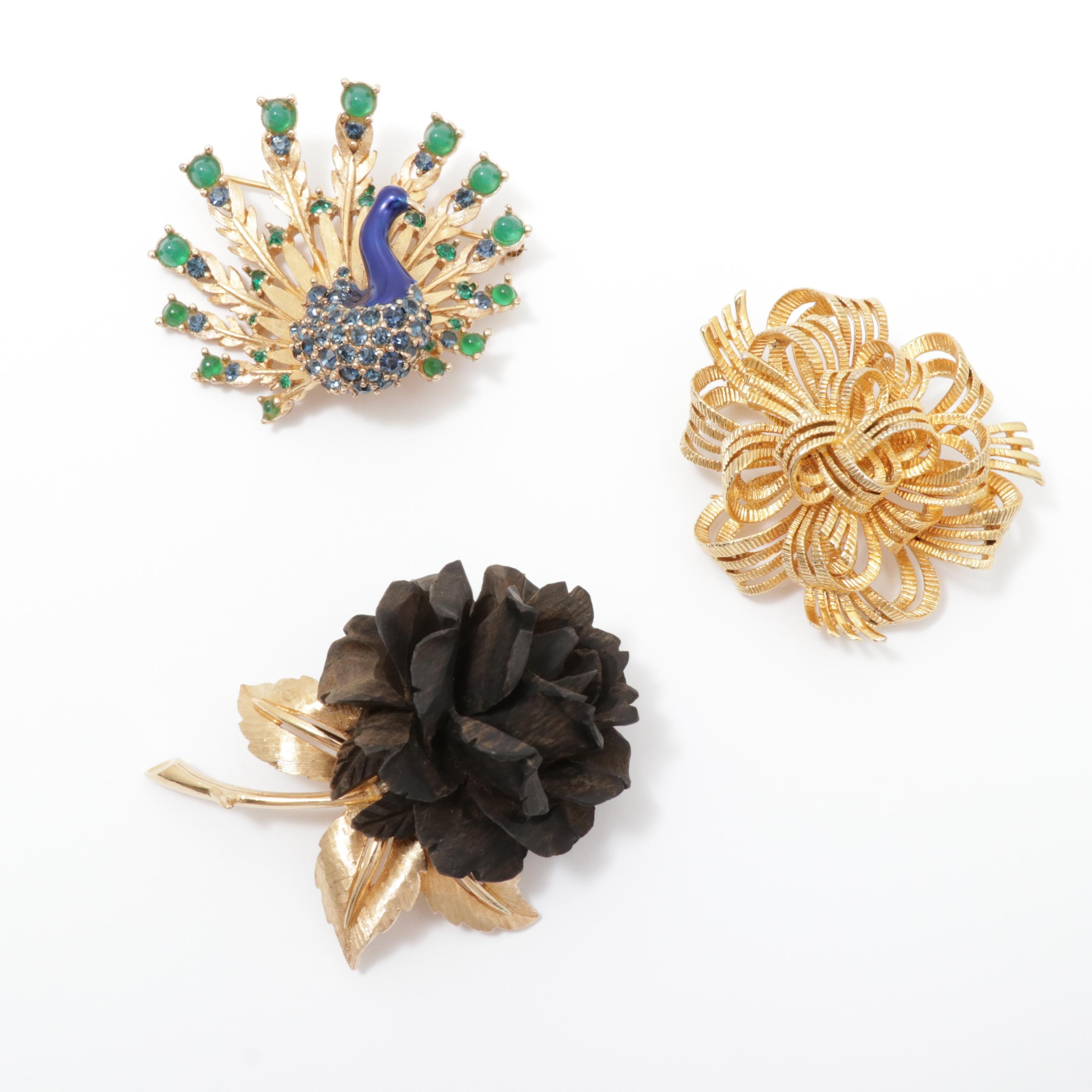 Lisner and Boucher Brooches, Vintage