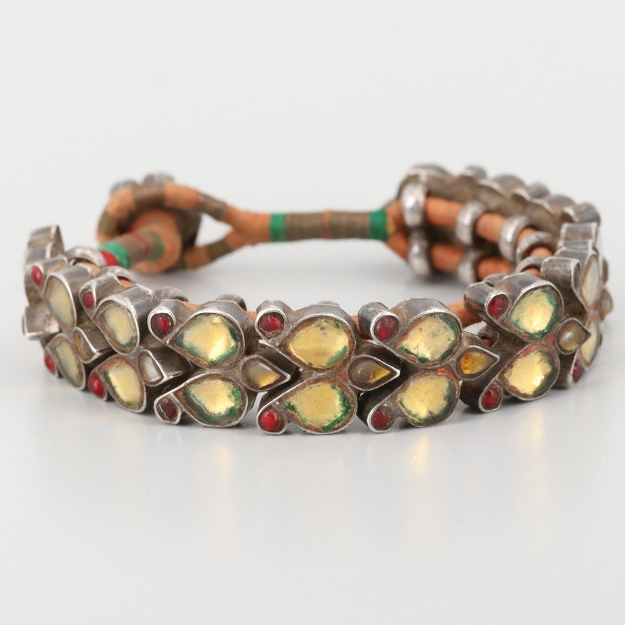 South Asian Style Sterling Silver Imitation Gemstone