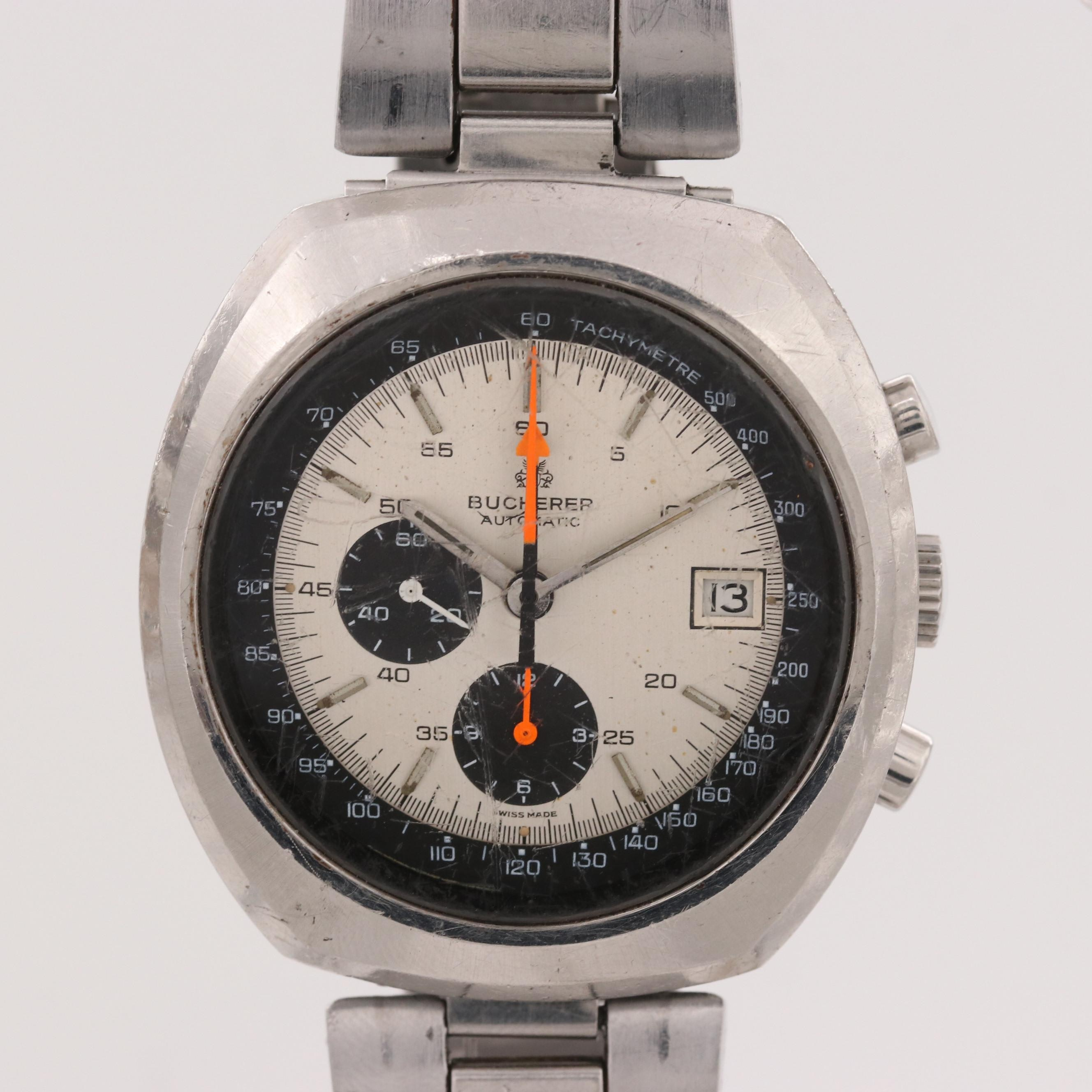 Vintage Bucherer 9801 Stainless Steel Automatic Chronograph Wristwatch