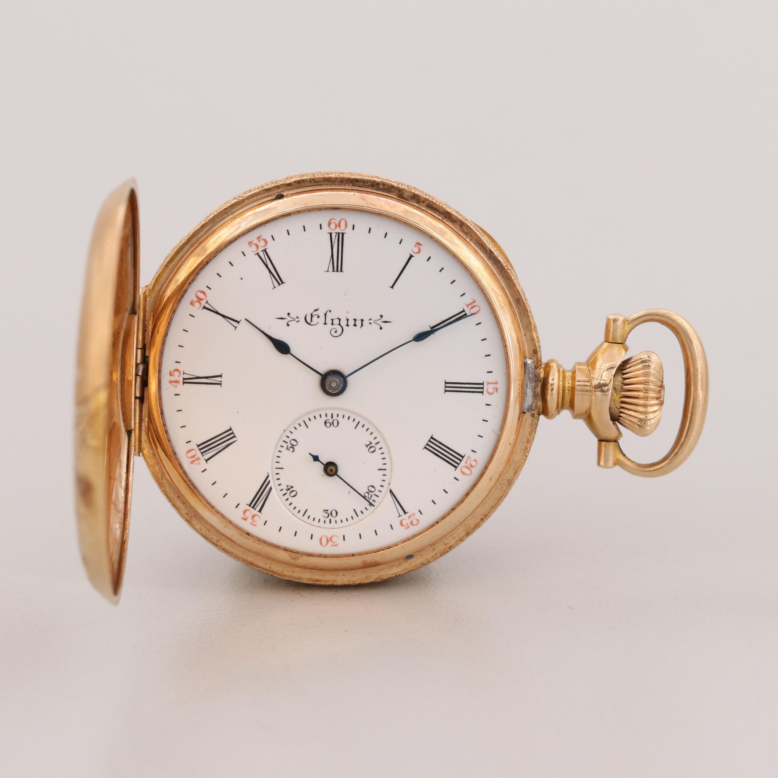 Antique Elgin 14K Gold Pocket Watch, 1904