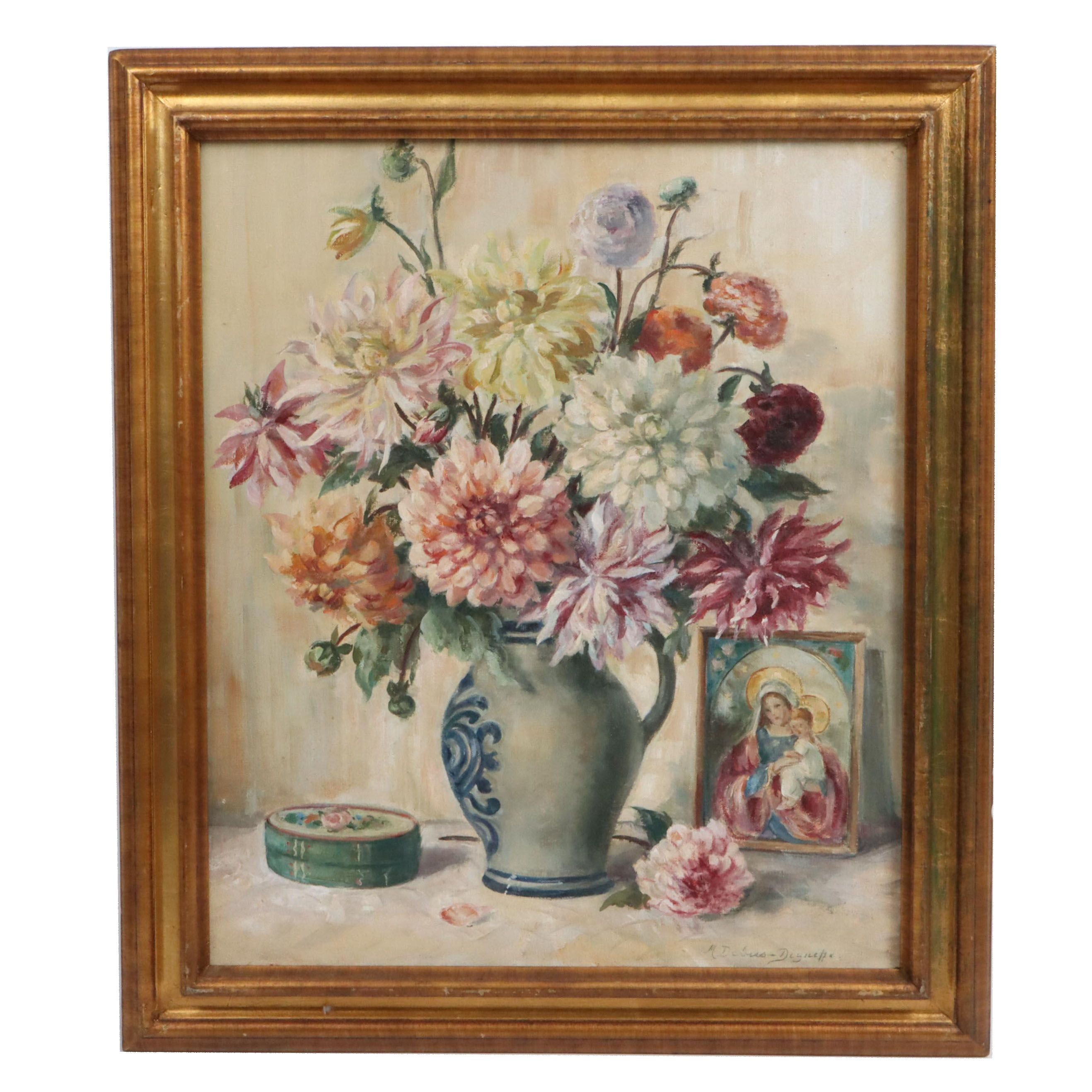Maria Debus-Digneffe Floral Still Life Oil Painting