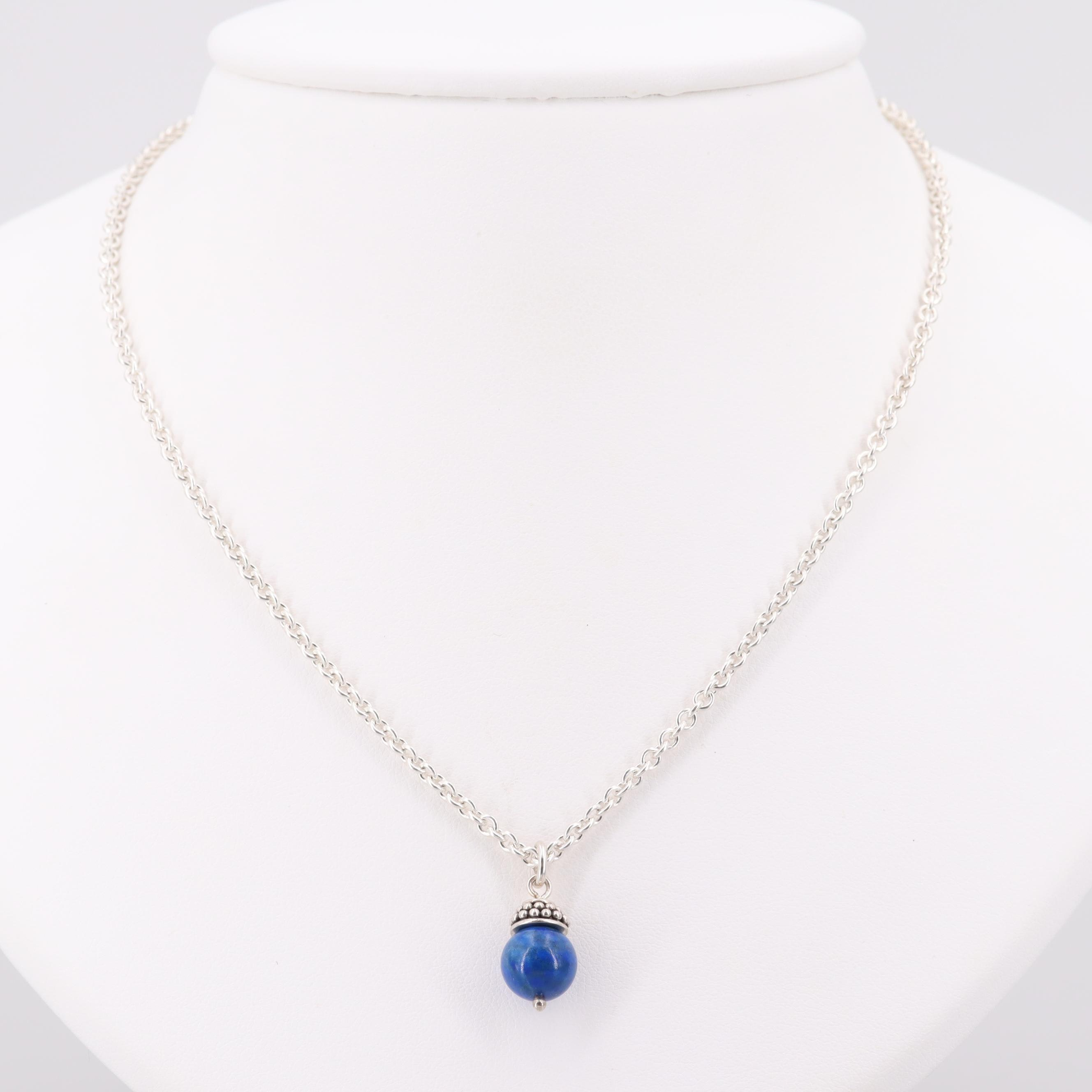 Sterling Silver Endless Necklace with Lapis Lazuli Pendant
