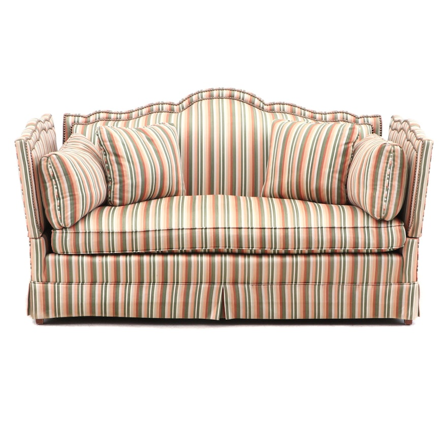 Knole Style Sofa Stripe with Brass Tacks 1980's