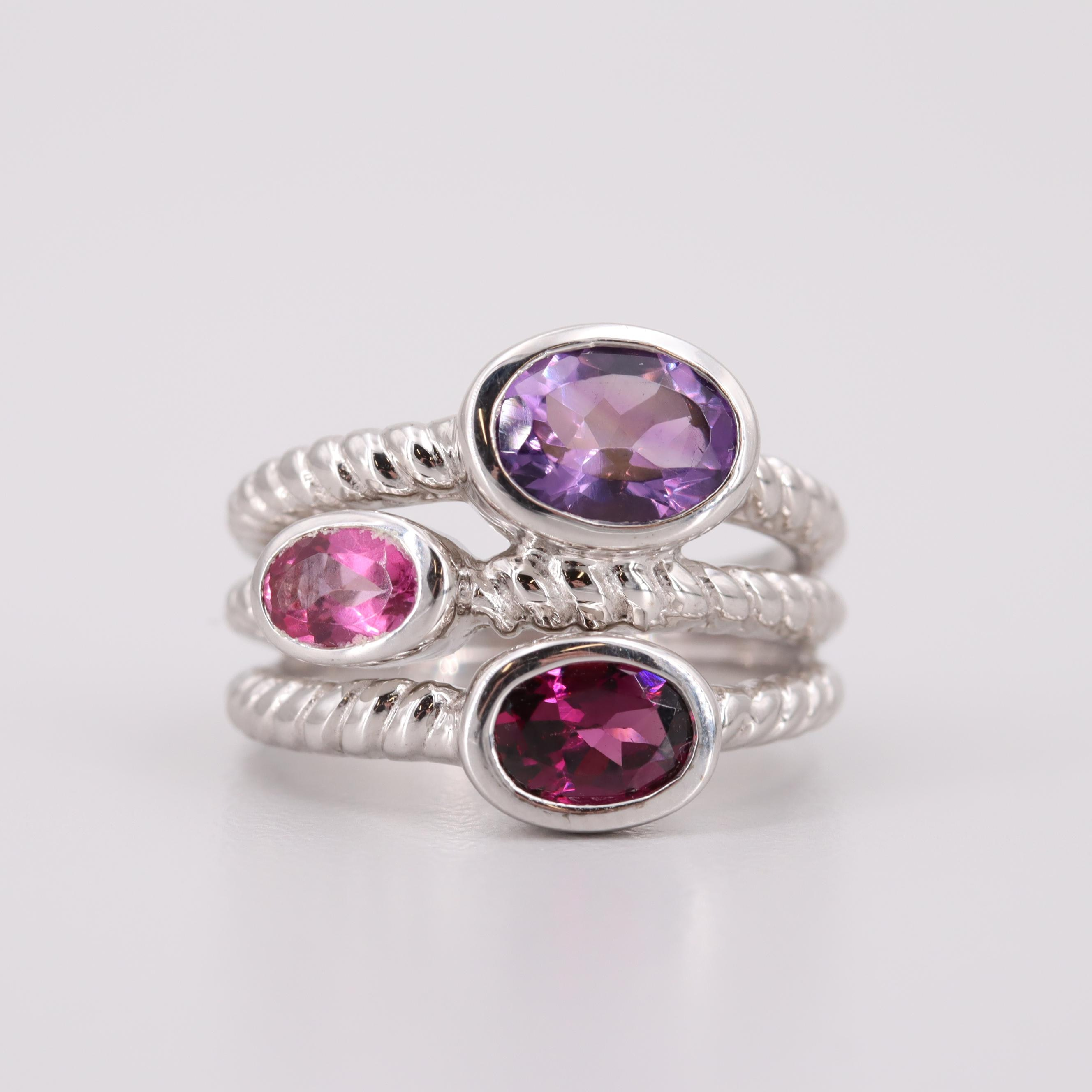 Sterling Silver Amethyst, Garnet and Topaz Ring