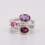 Sterling Silver Amethyst, Garnet and Topaz Ring