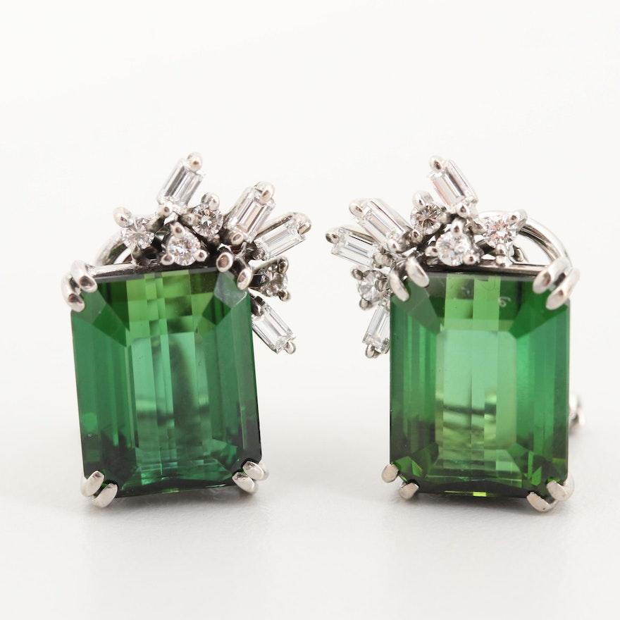 e6741cb45 14K White Gold 12.00 CTW Green Tourmaline and Diamond Earrings | EBTH