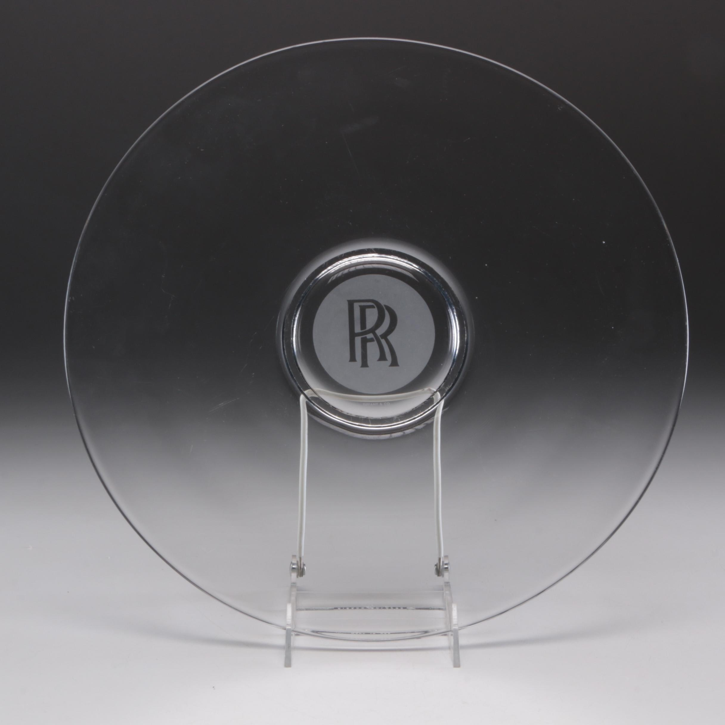 Tiffany & Co. Rolls-Royce Serving Glass Plate or Tray with Etched Logo