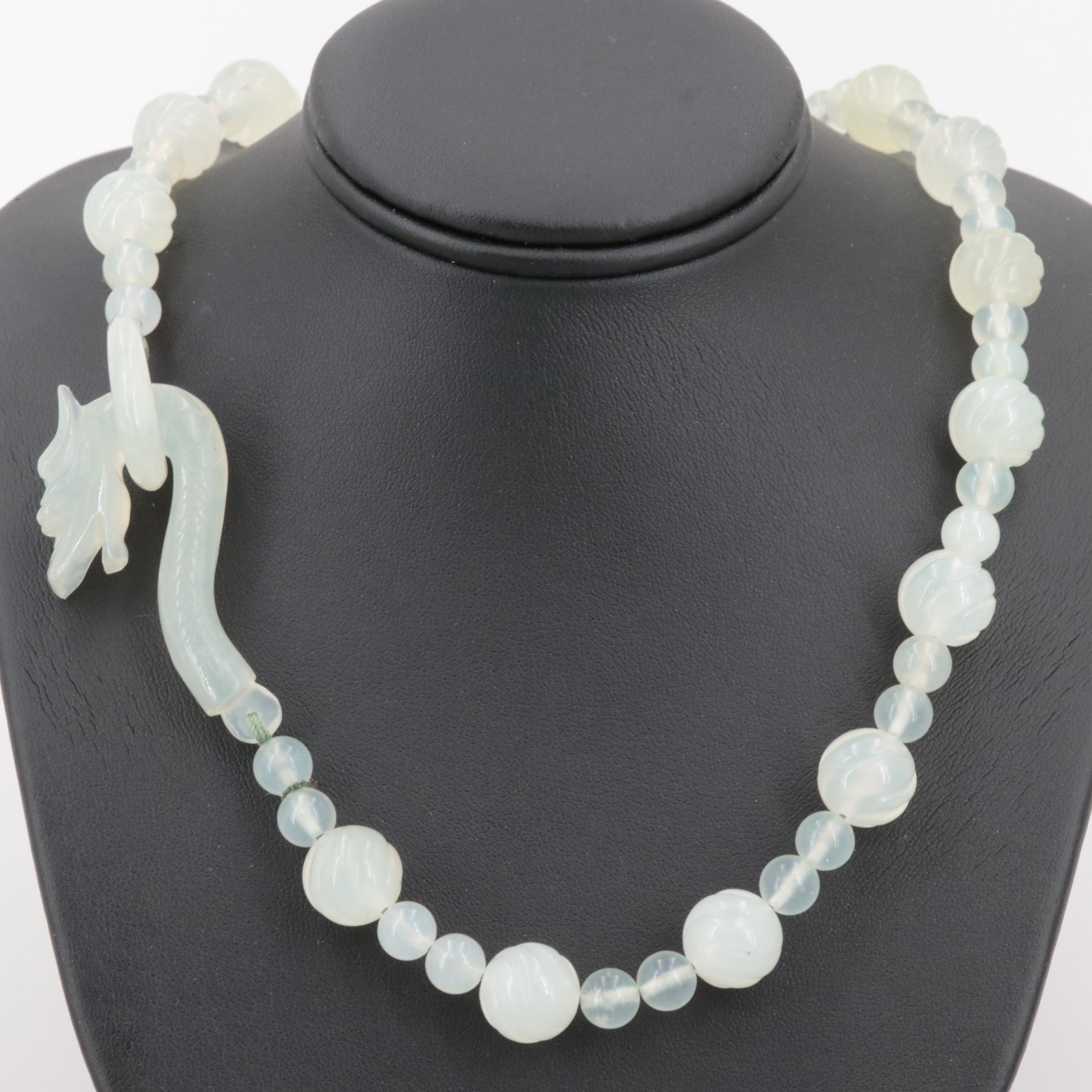 Bowenite Beaded Necklace with Dragon Motif Clasp