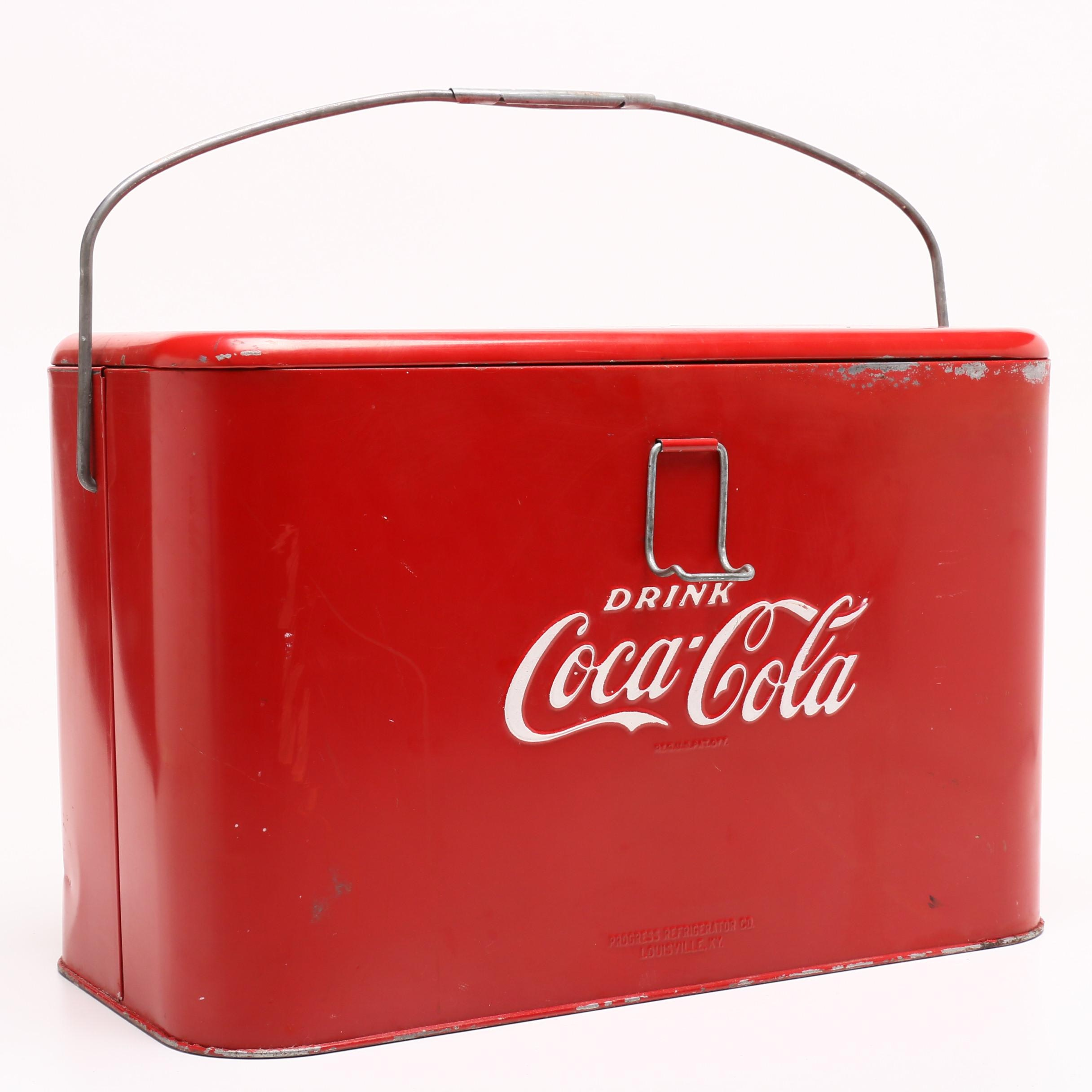 """Drink Coca-Cola"" Progress Ice Chest with Galvanized Insert, Mid-Century"