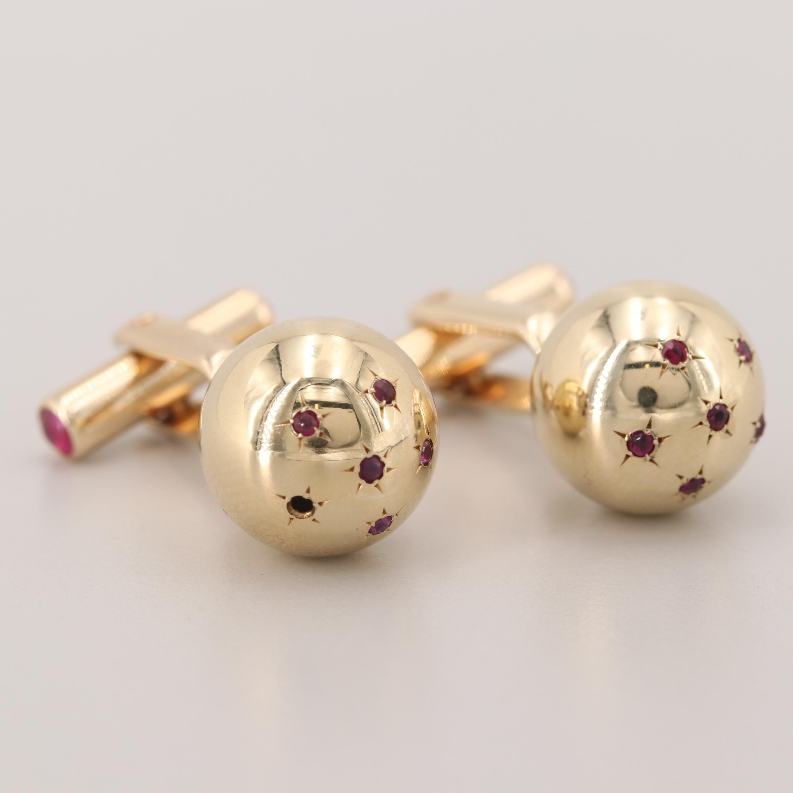 Vintage 14K Yellow Gold Ruby Spherical Cufflinks