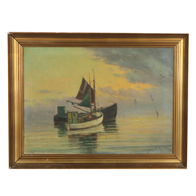 Einar Gross Seascape Oil Painting