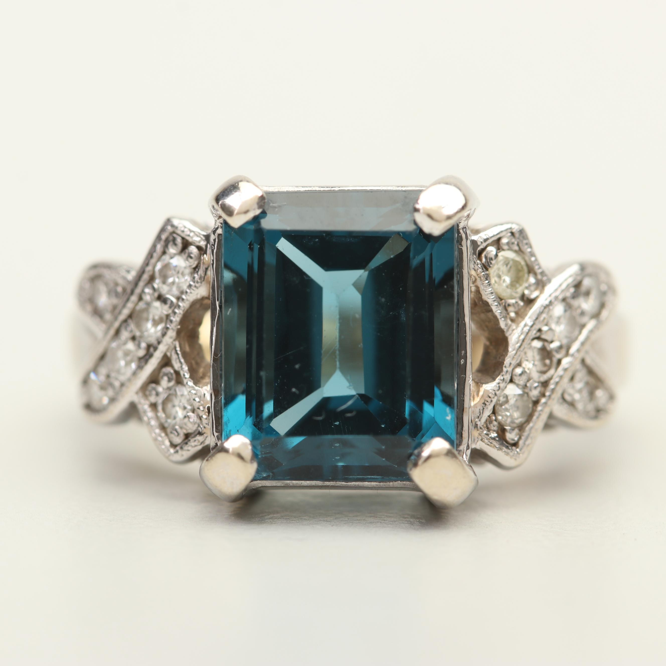 14K White Gold 4.50 CT Topaz and Diamond Ring