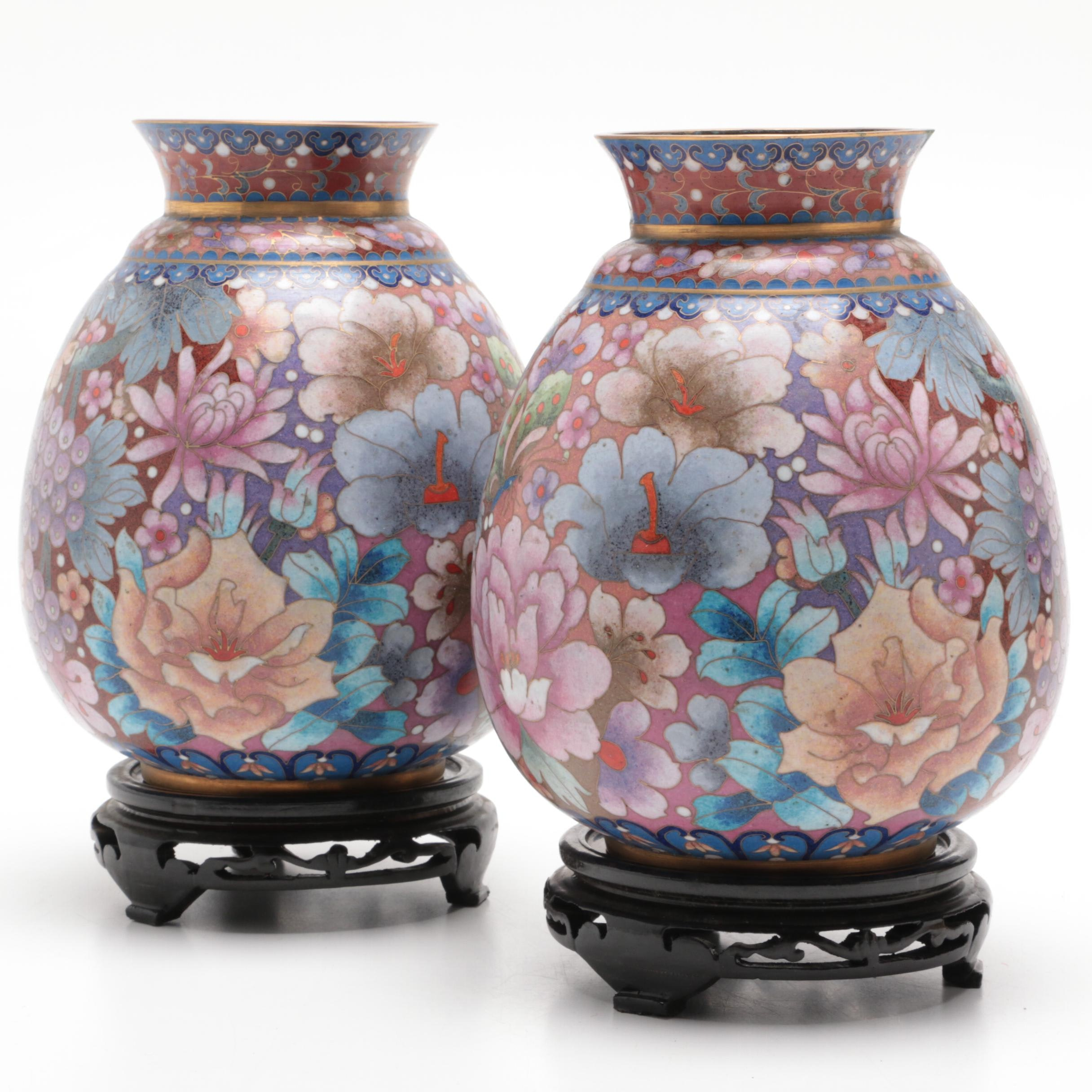 Chinese Cloisonne Ceramic Vases with Wood Bases