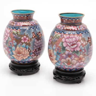 Chinese Cloisonné Vases with Wood Bases