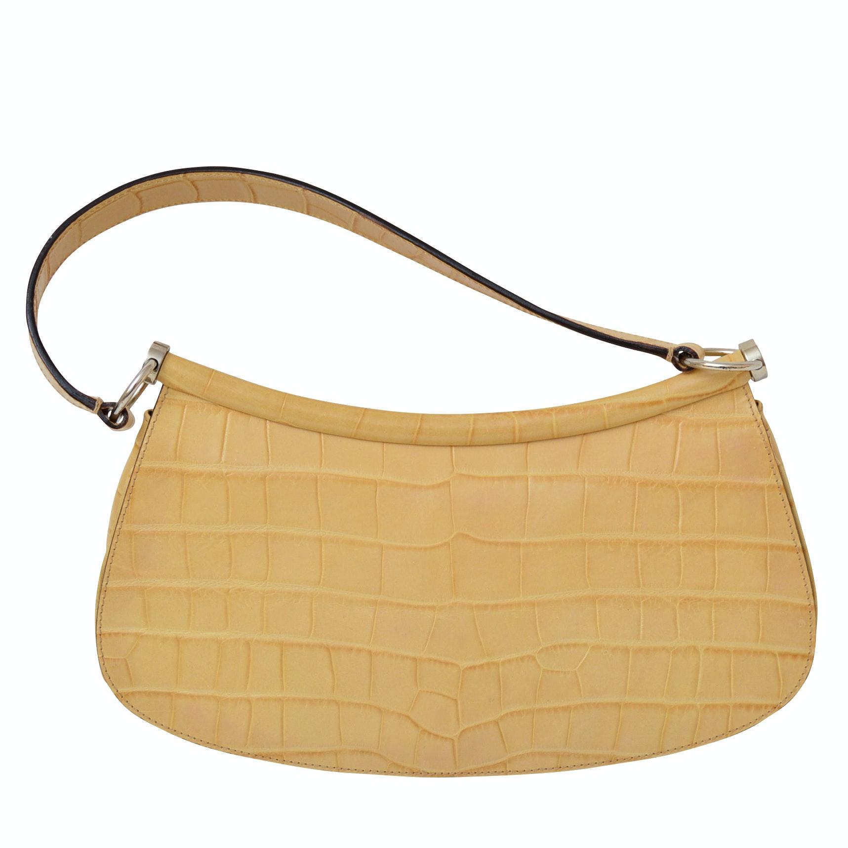 Escada Croc-Textured Leather Handbag