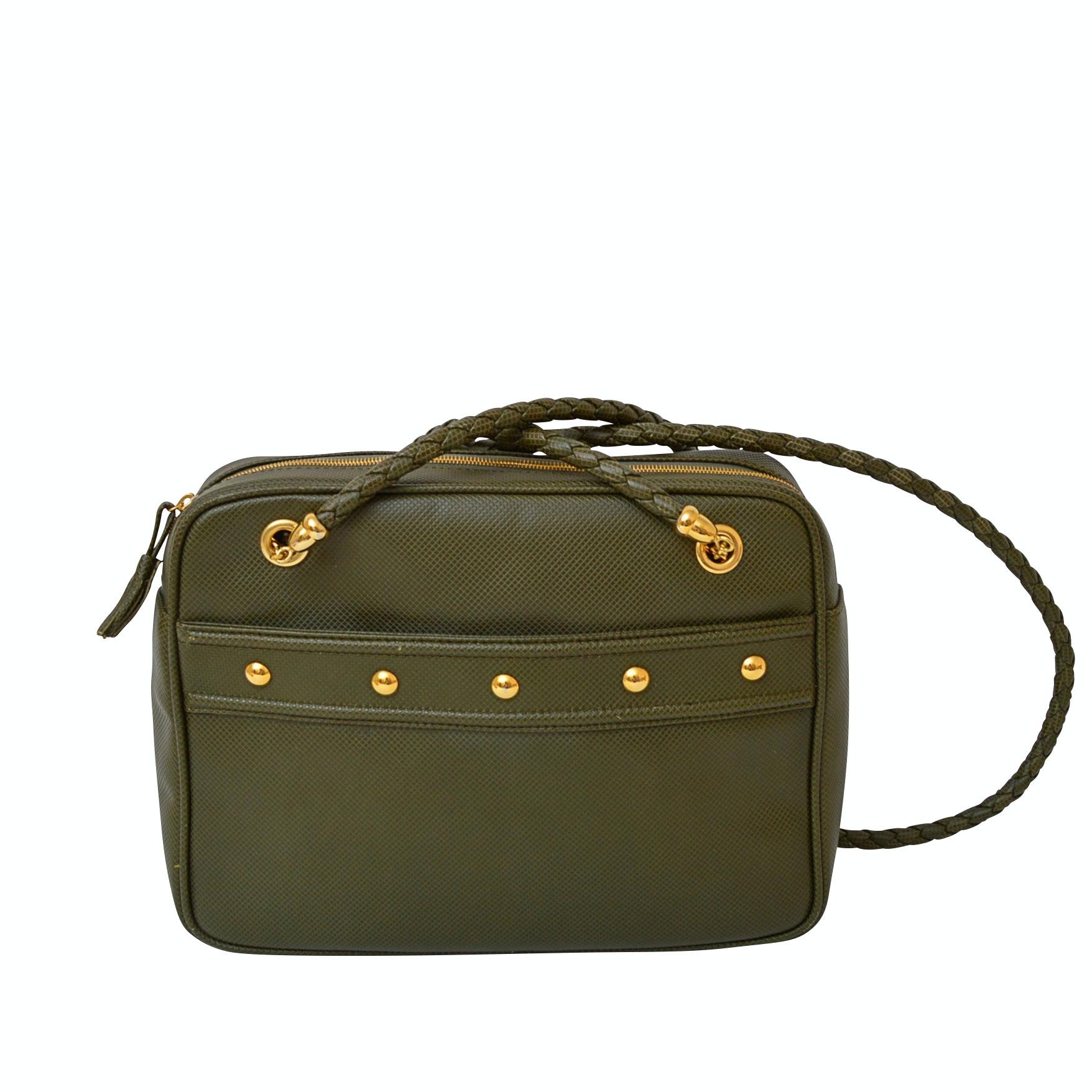 Bottega Veneta Olive Green Embossed Leather Shoulder Bag with Woven Strap
